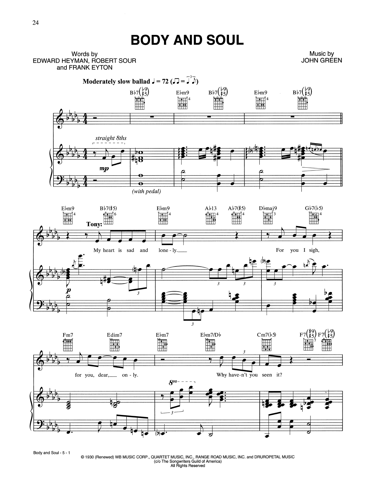 Body And Soul (Piano, Vocal & Guitar (Right-Hand Melody))