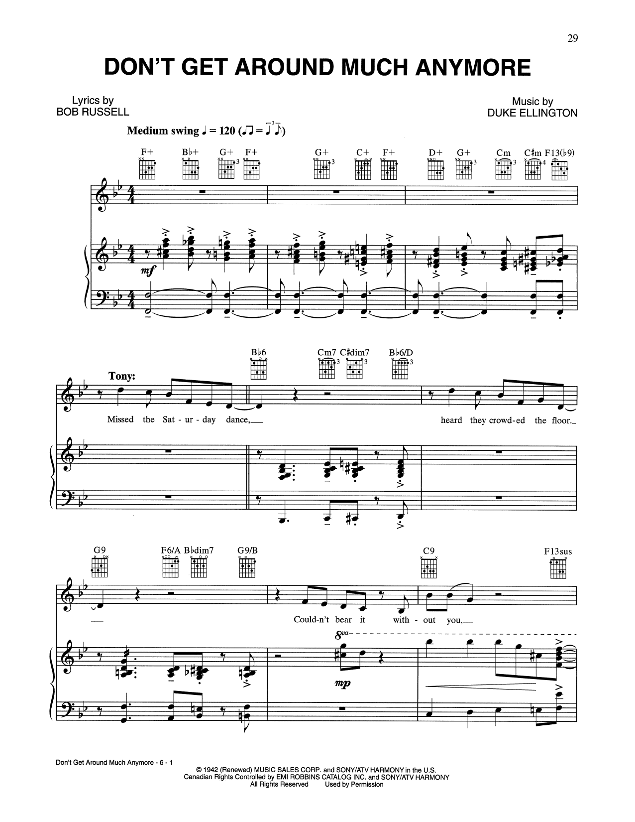 Don't Get Around Much Anymore (Piano, Vocal & Guitar (Right-Hand Melody))