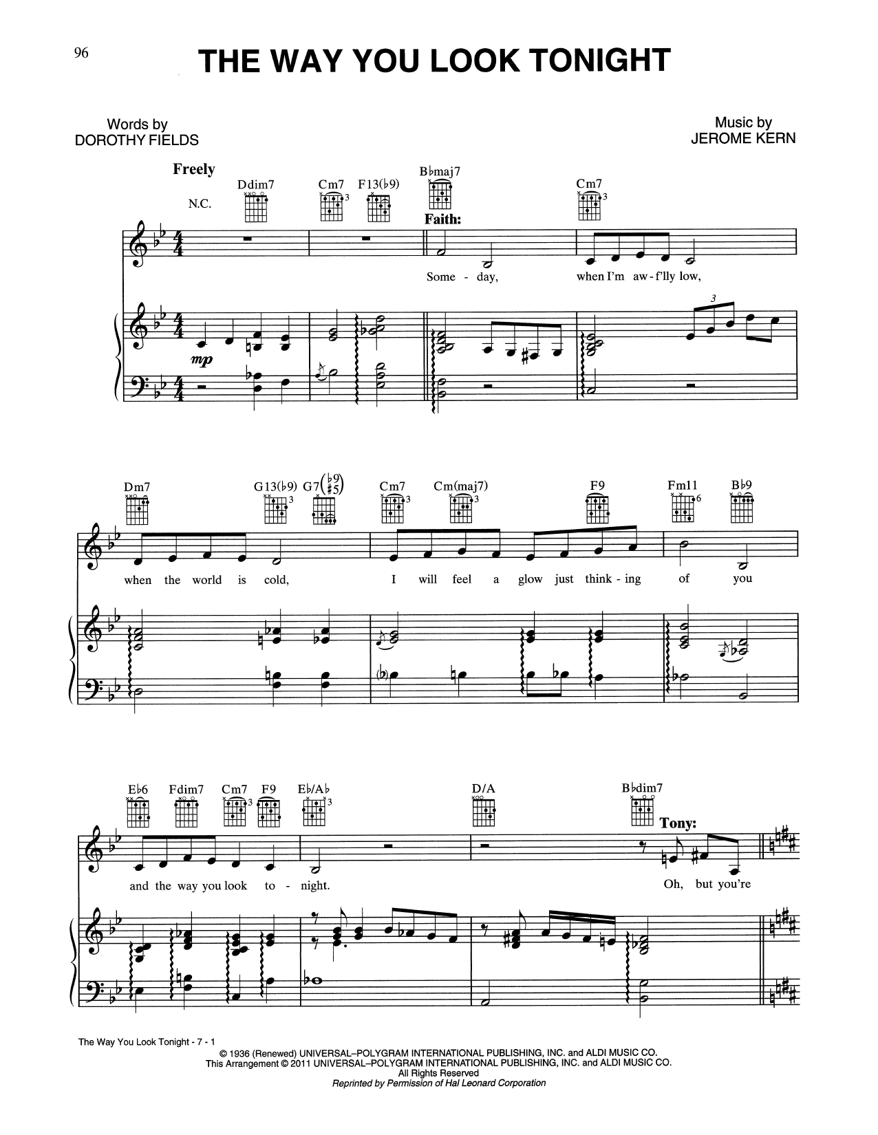 The Way You Look Tonight (Piano, Vocal & Guitar (Right-Hand Melody))