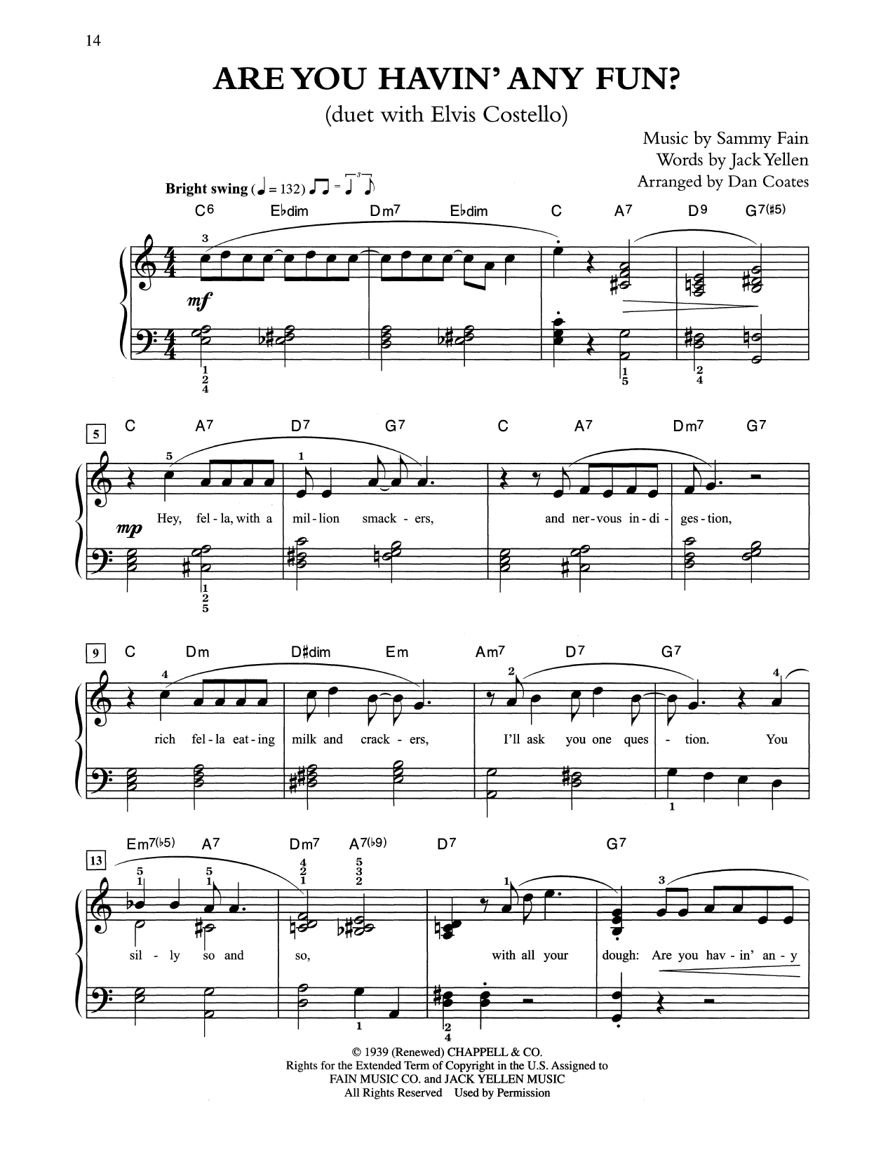Are You Havin' Any Fun? (arr. Dan Coates) (Easy Piano)