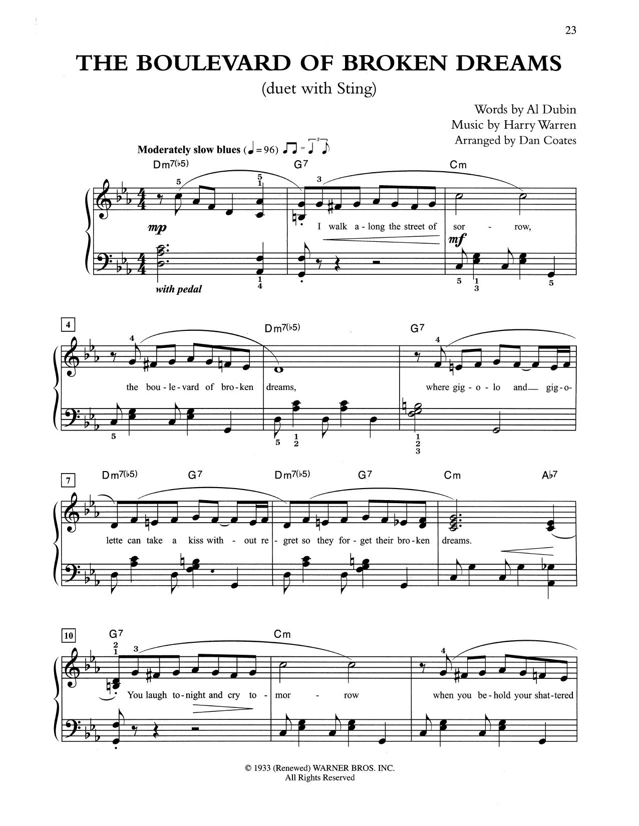 The Boulevard Of Broken Dreams (arr. Dan Coates) (Easy Piano)