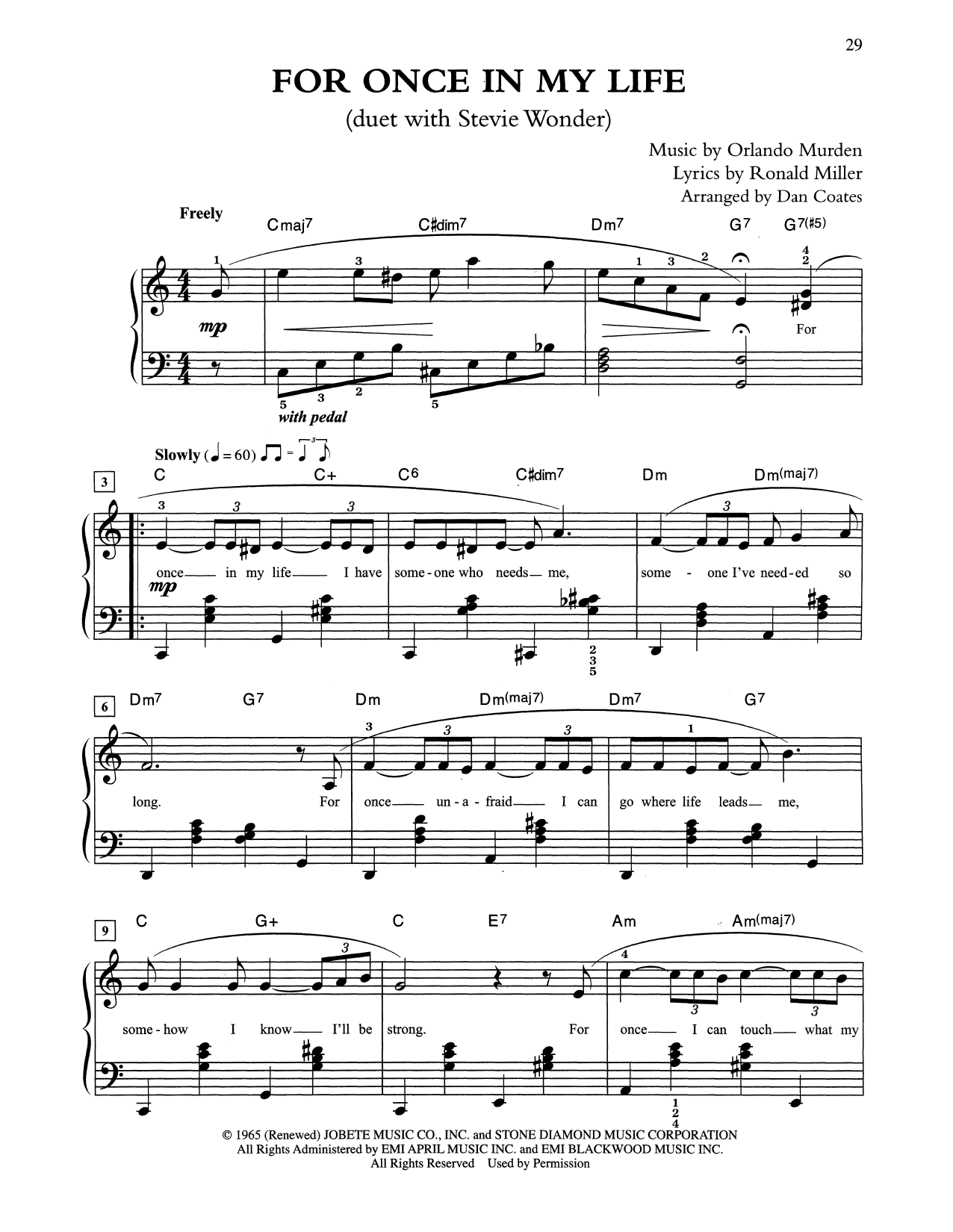 For Once In My Life (arr. Dan Coates) (Easy Piano)