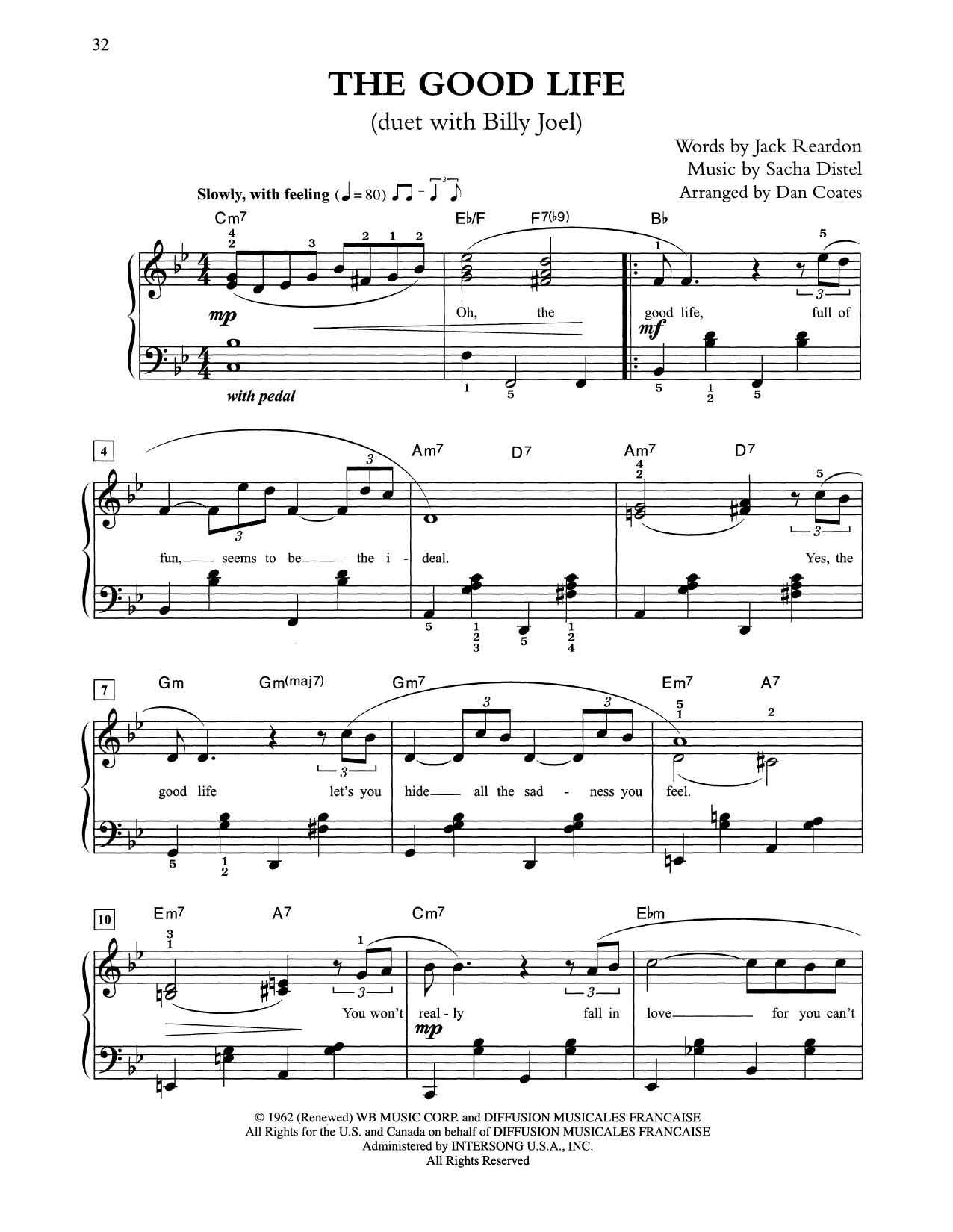 The Good Life (arr. Dan Coates) (Easy Piano)