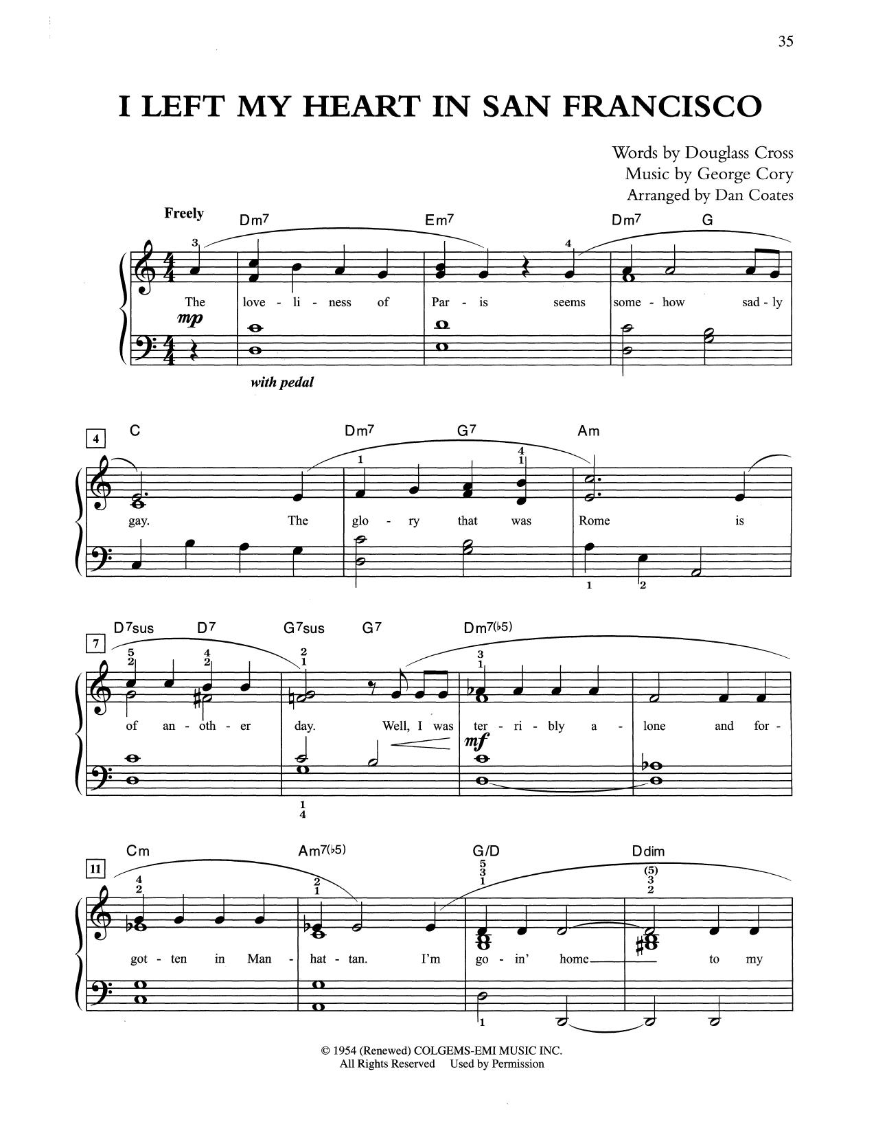 I Left My Heart In San Francisco (arr. Dan Coates) (Easy Piano)