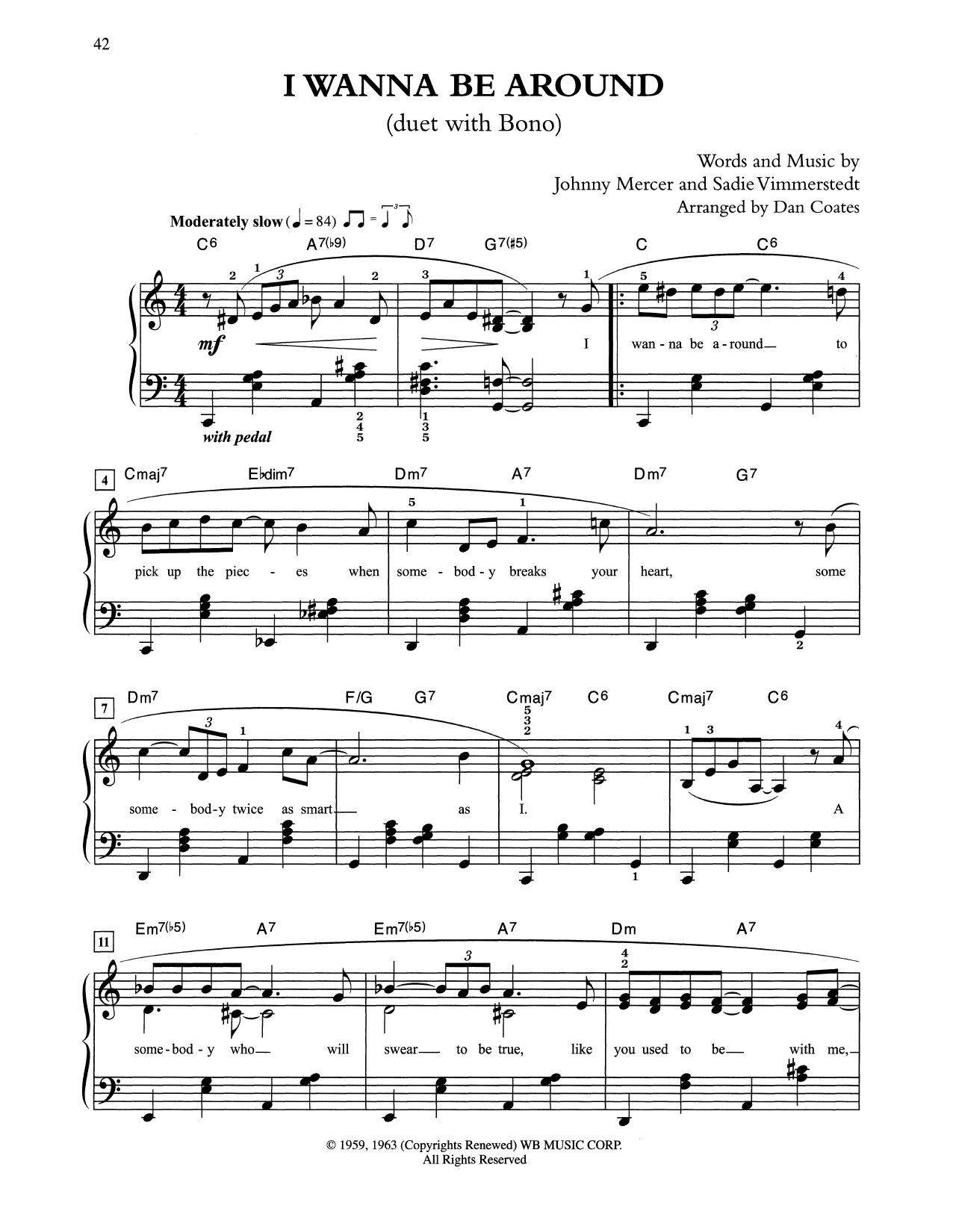 I Wanna Be Around (arr. Dan Coates) (Easy Piano)