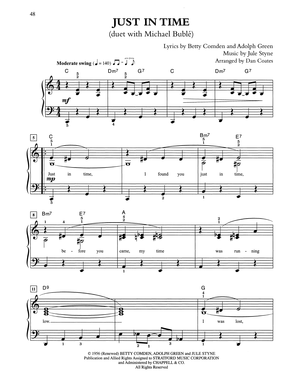 Just In Time (arr. Dan Coates) (Easy Piano)