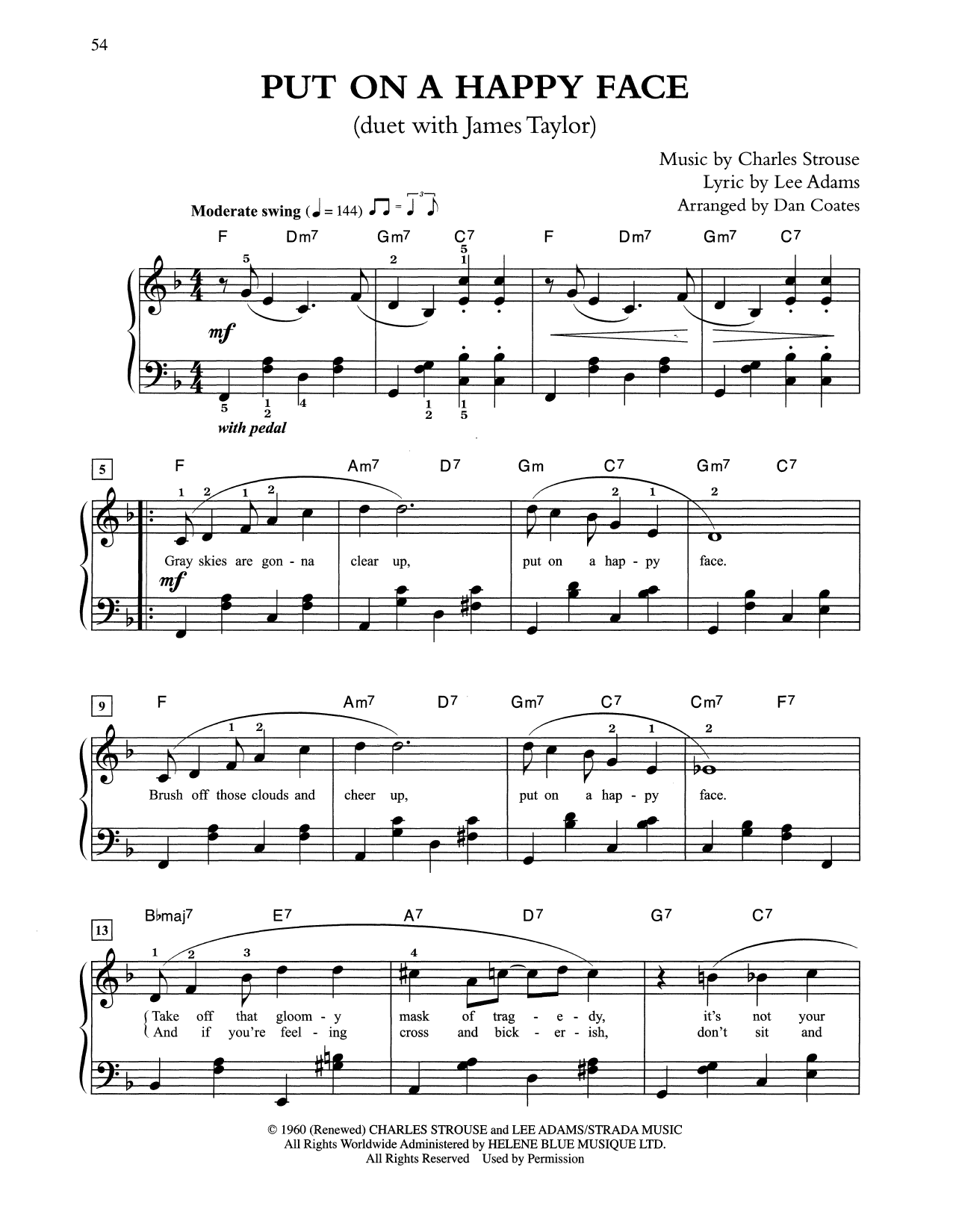 Put On A Happy Face (arr. Dan Coates) (Easy Piano)