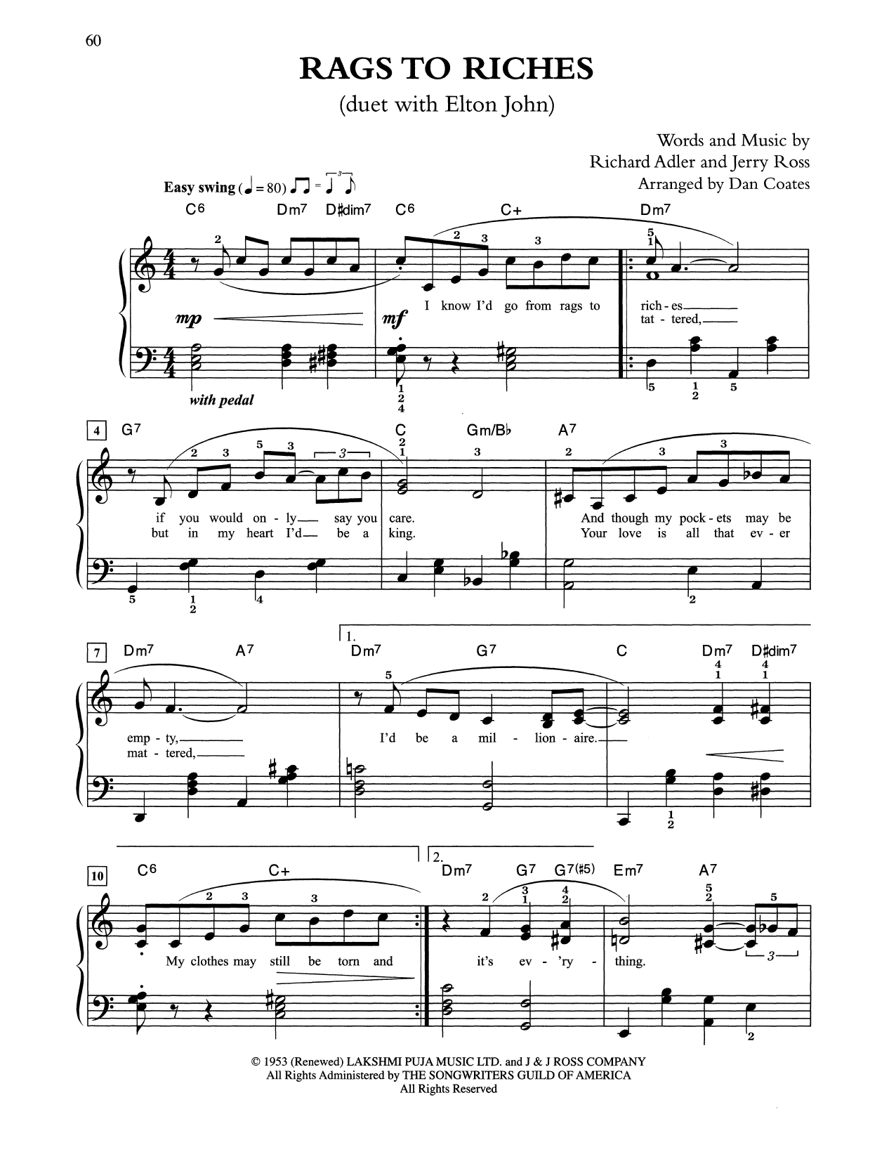 Rags To Riches (arr. Dan Coates) (Easy Piano)