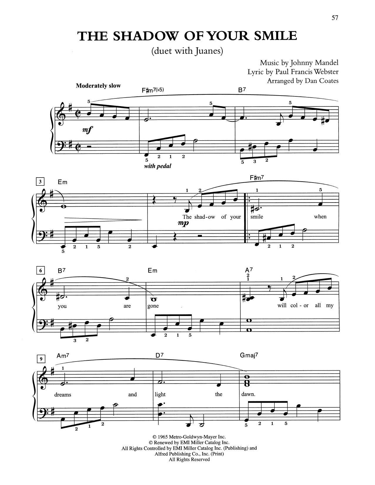 The Shadow Of Your Smile (arr. Dan Coates) (Easy Piano)