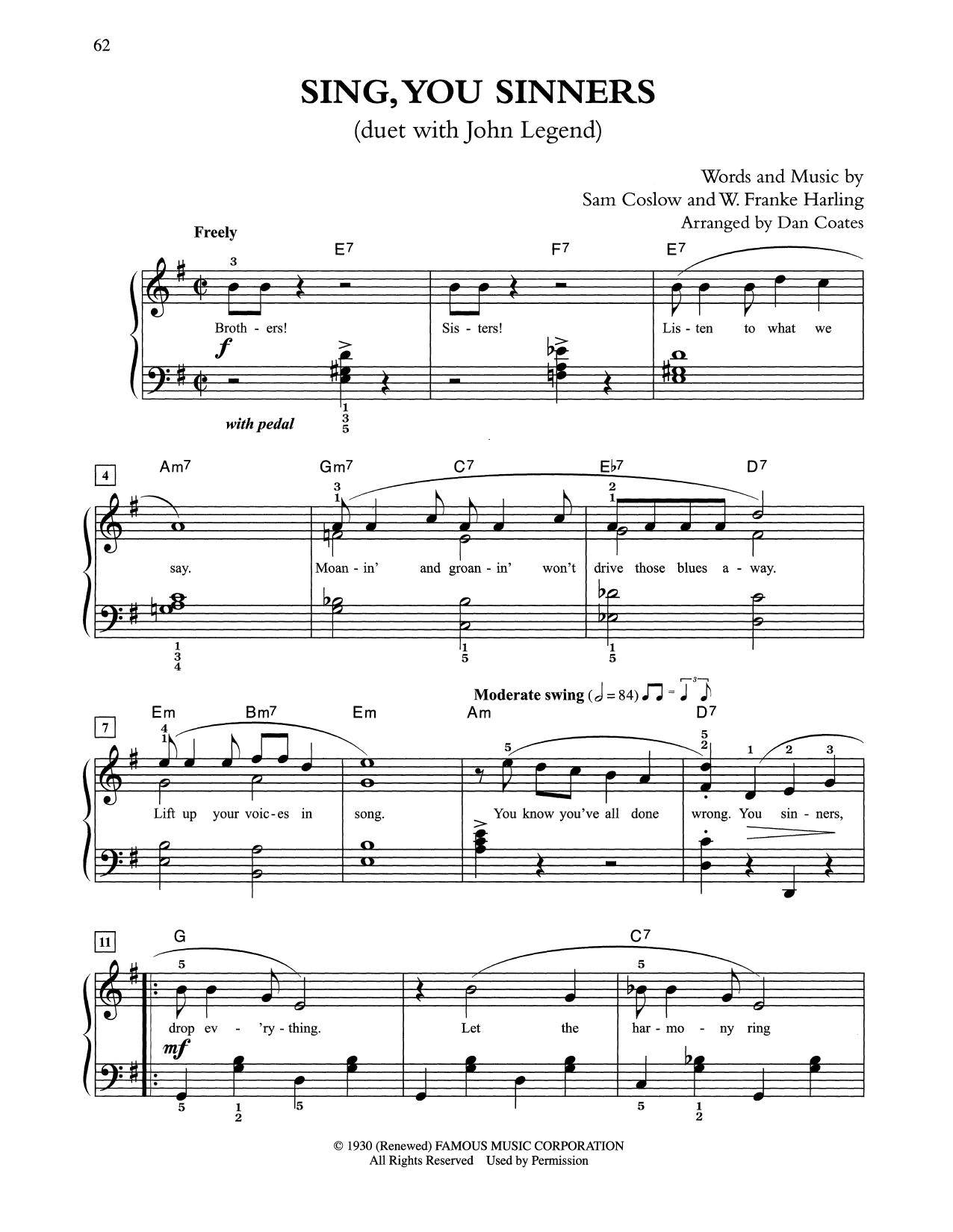 Sing, You Sinners (arr. Dan Coates) (Easy Piano)