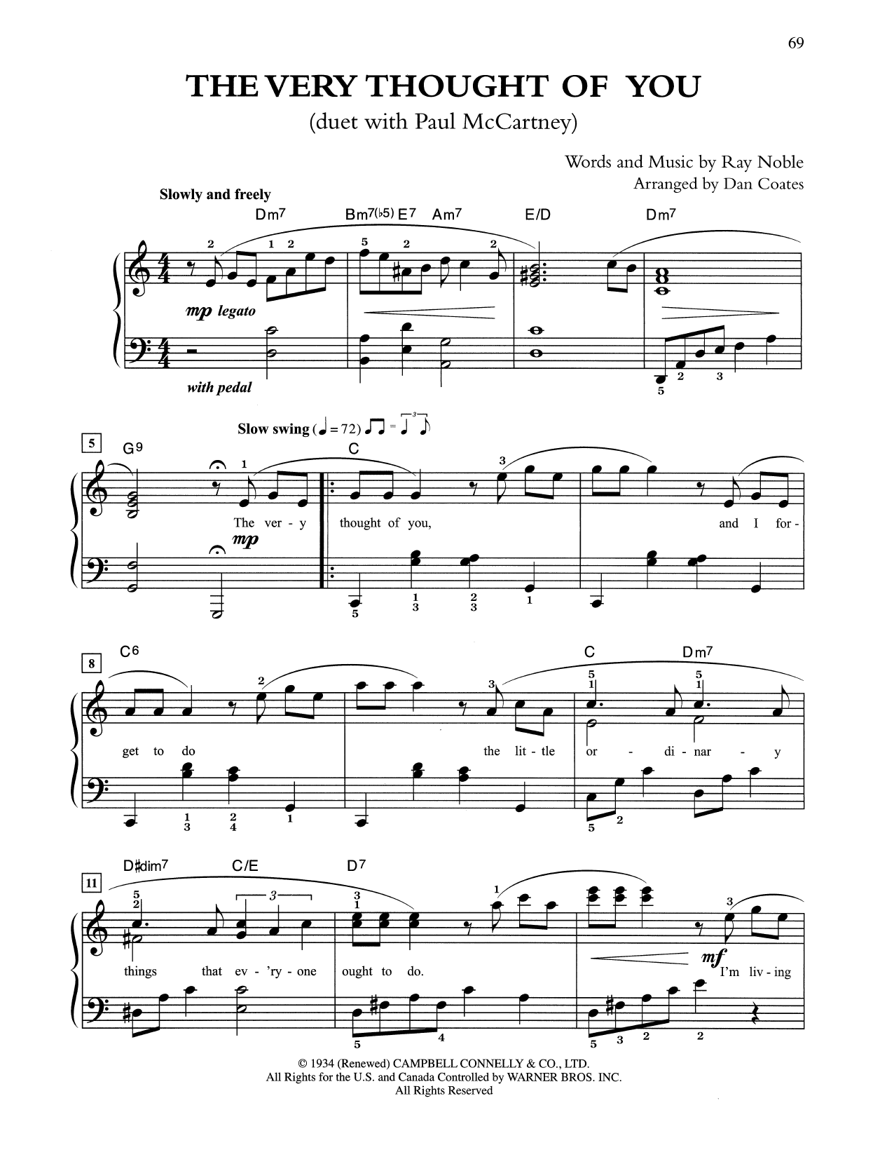 The Very Thought Of You (arr. Dan Coates) (Easy Piano)