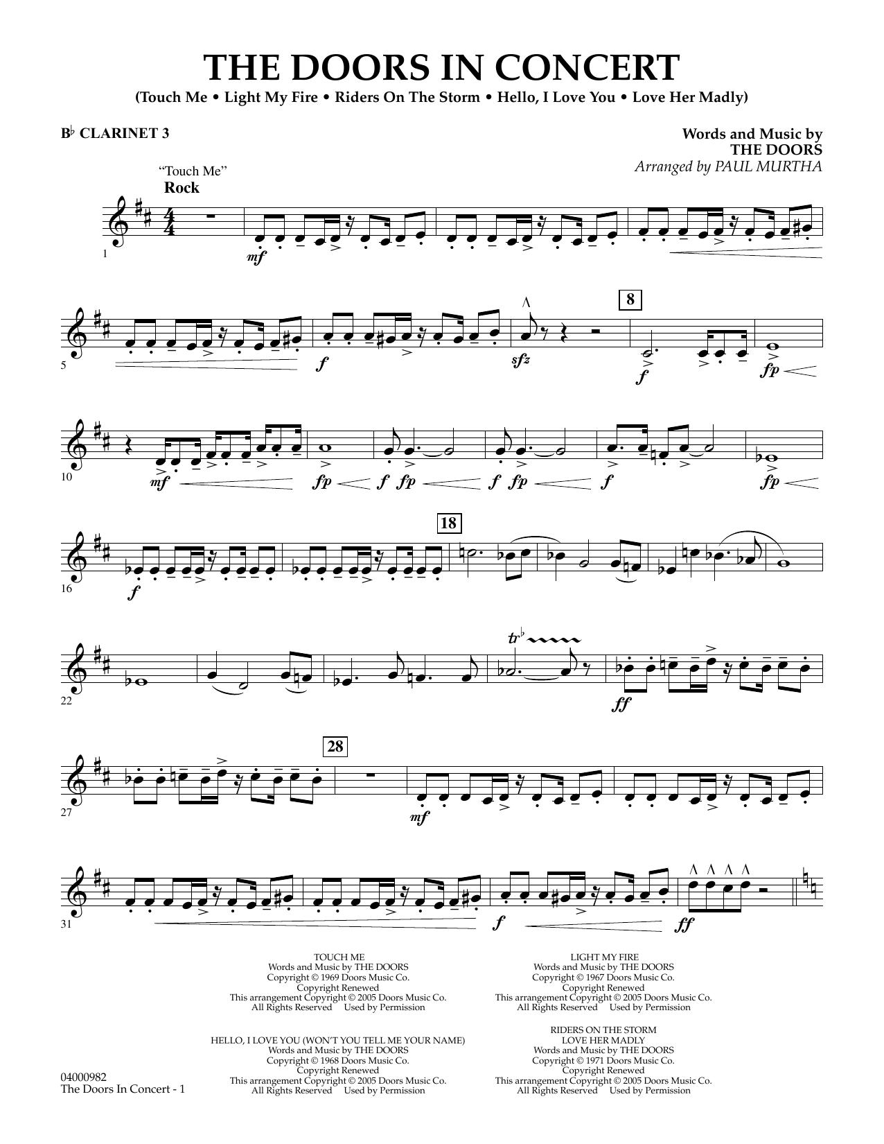 The Doors in Concert (arr. Paul Murtha) - Bb Clarinet 3 (Concert Band)