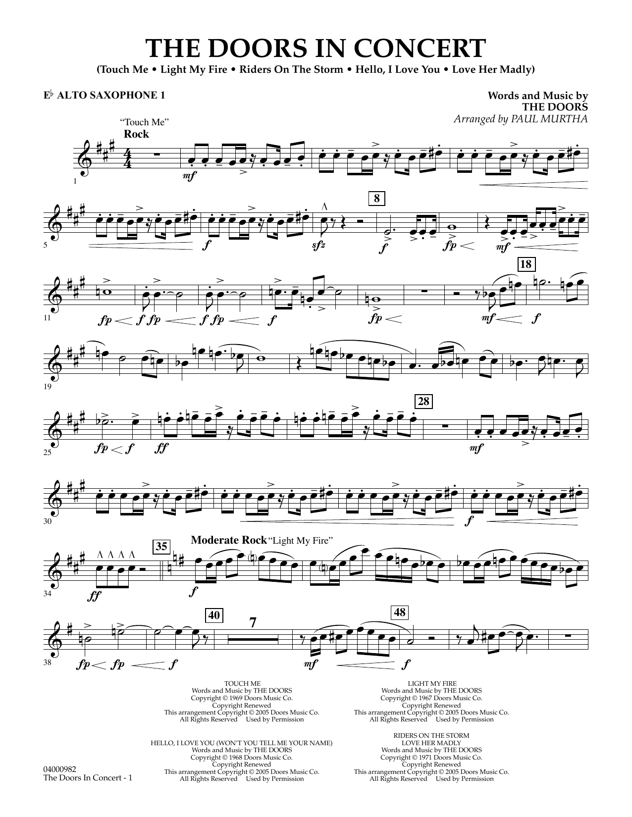 The Doors in Concert (arr. Paul Murtha) - Eb Alto Saxophone 1 (Concert Band)