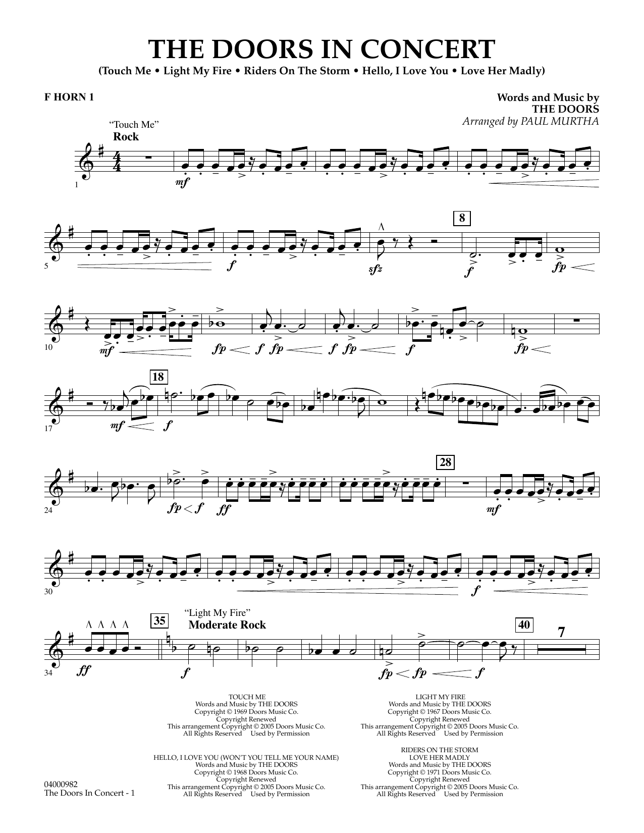 The Doors in Concert (arr. Paul Murtha) - F Horn 1 (Concert Band)