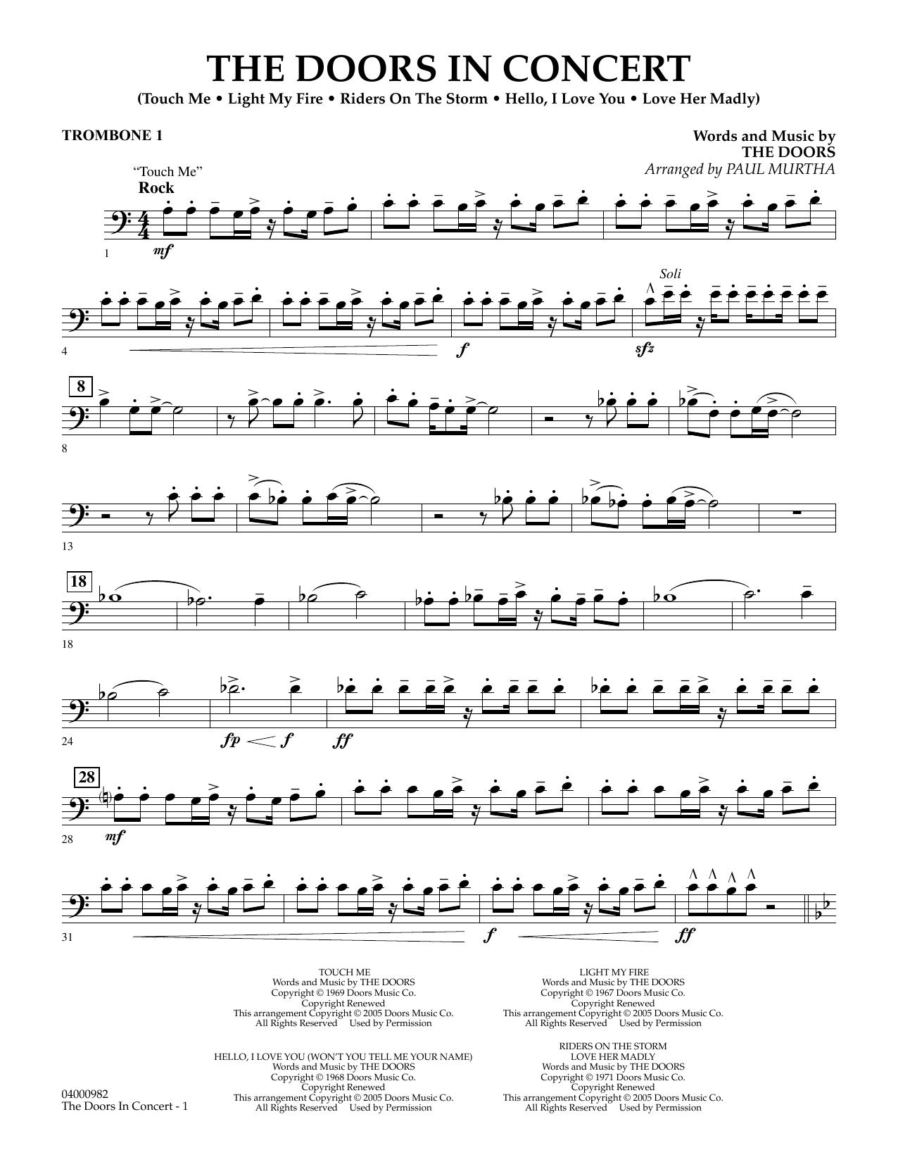 The Doors in Concert (arr. Paul Murtha) - Trombone 1 (Concert Band)