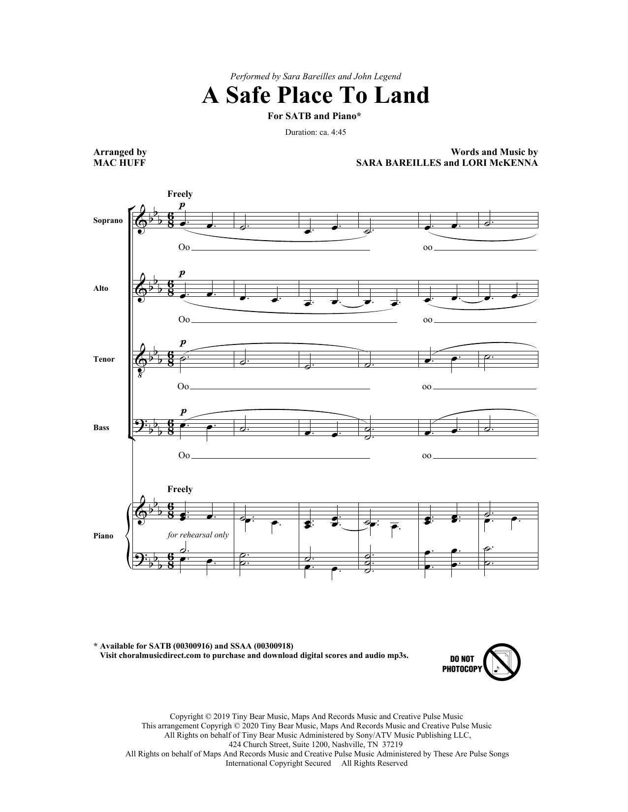 A Safe Place To Land (feat. John Legend) (arr. Mac Huff) (SATB Choir)