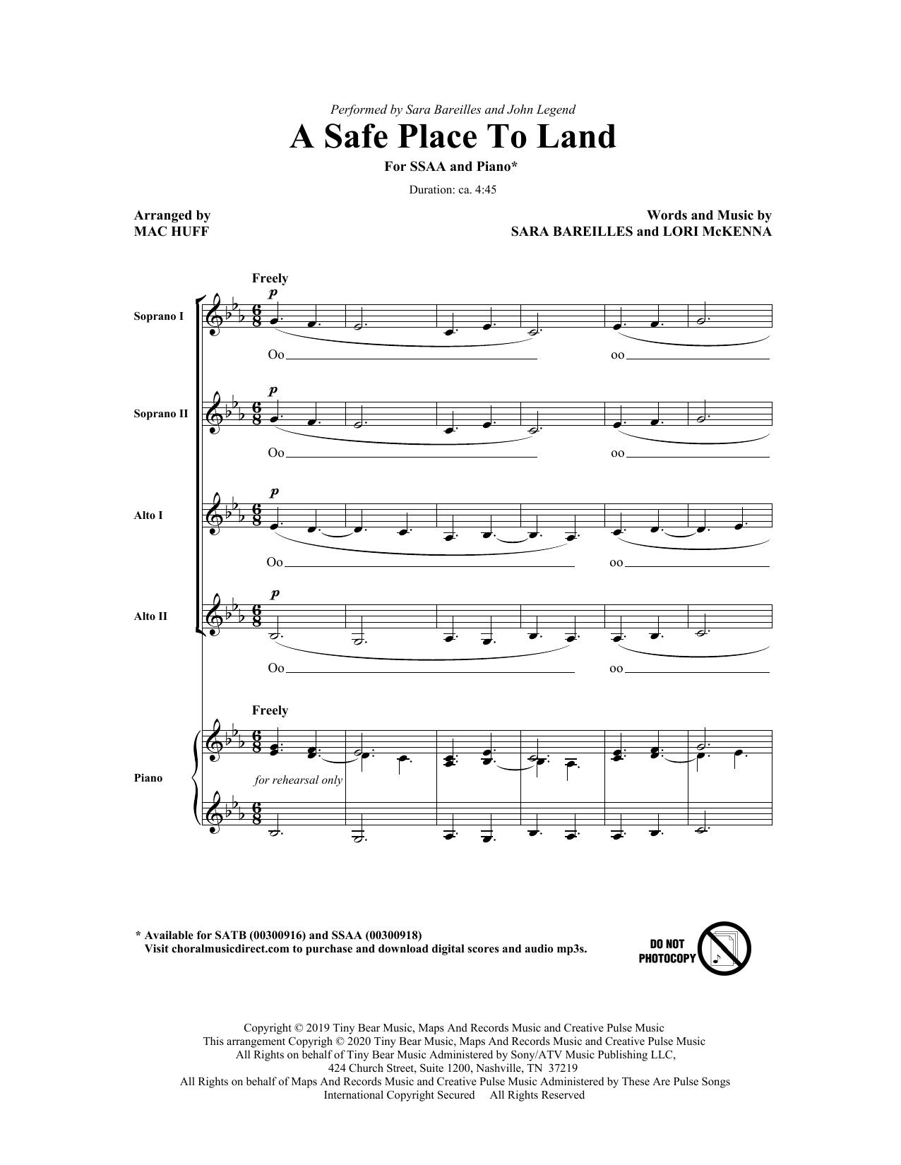 A Safe Place To Land (feat. John Legend) (arr. Mac Huff) Sheet Music
