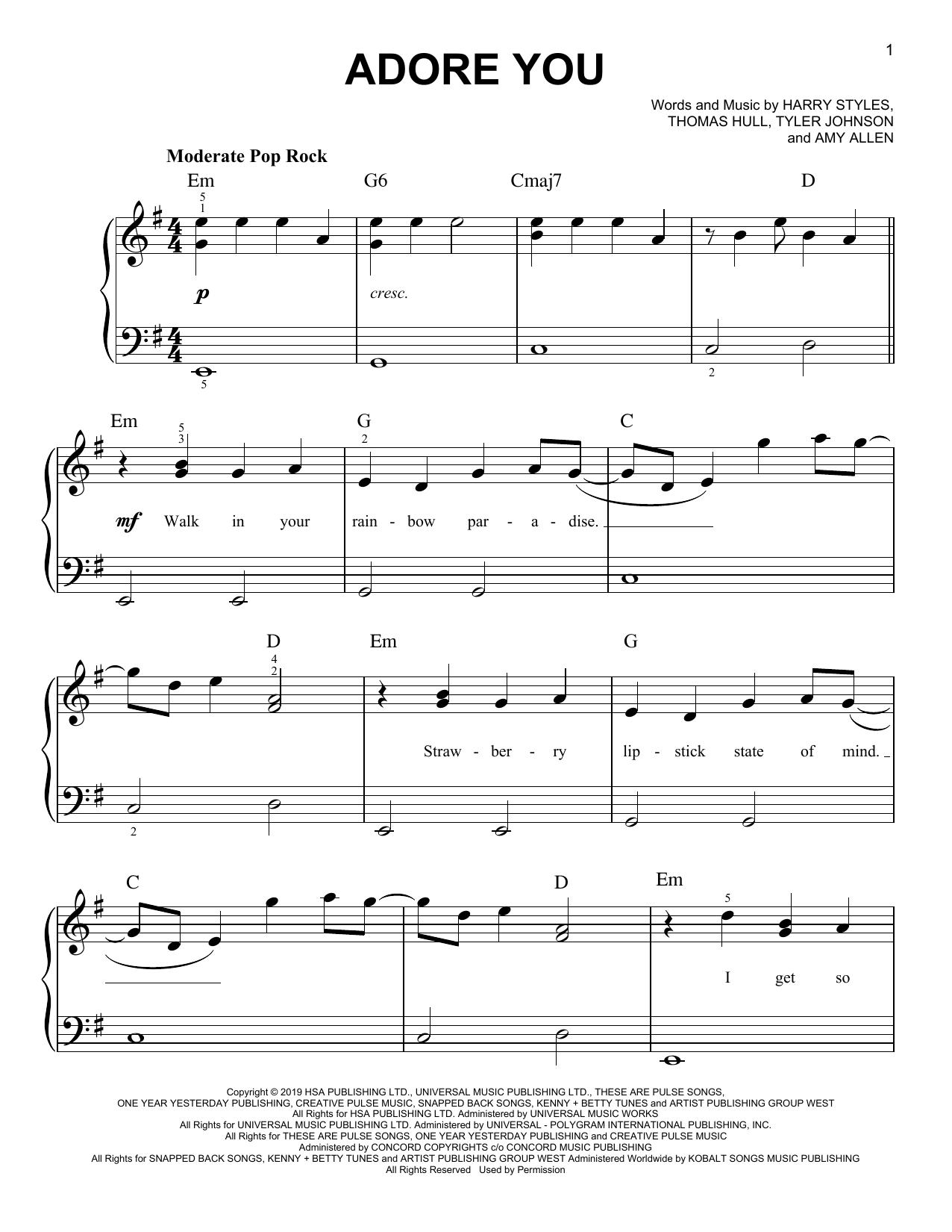 Adore You (Easy Piano)