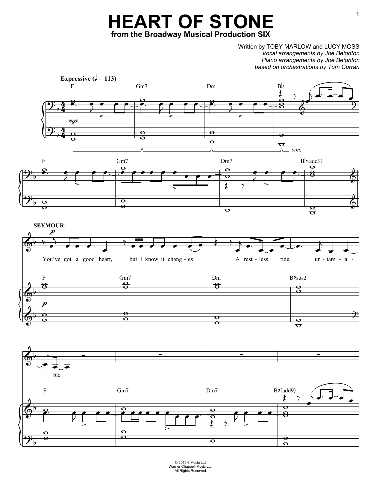 Heart Of Stone (from Six: The Musical) (Piano & Vocal)