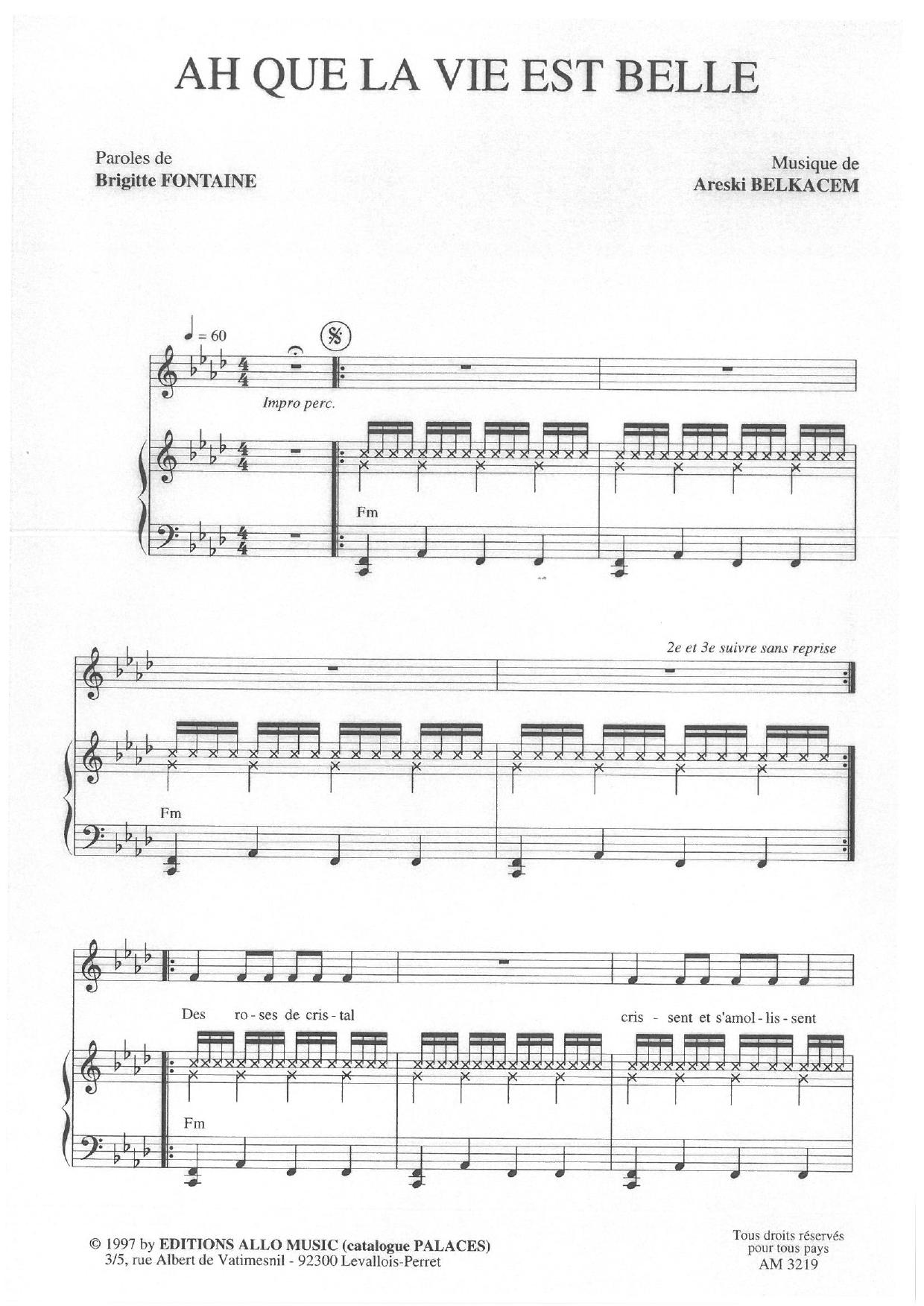 Ah Que La Vie Est Belle (Piano & Vocal)