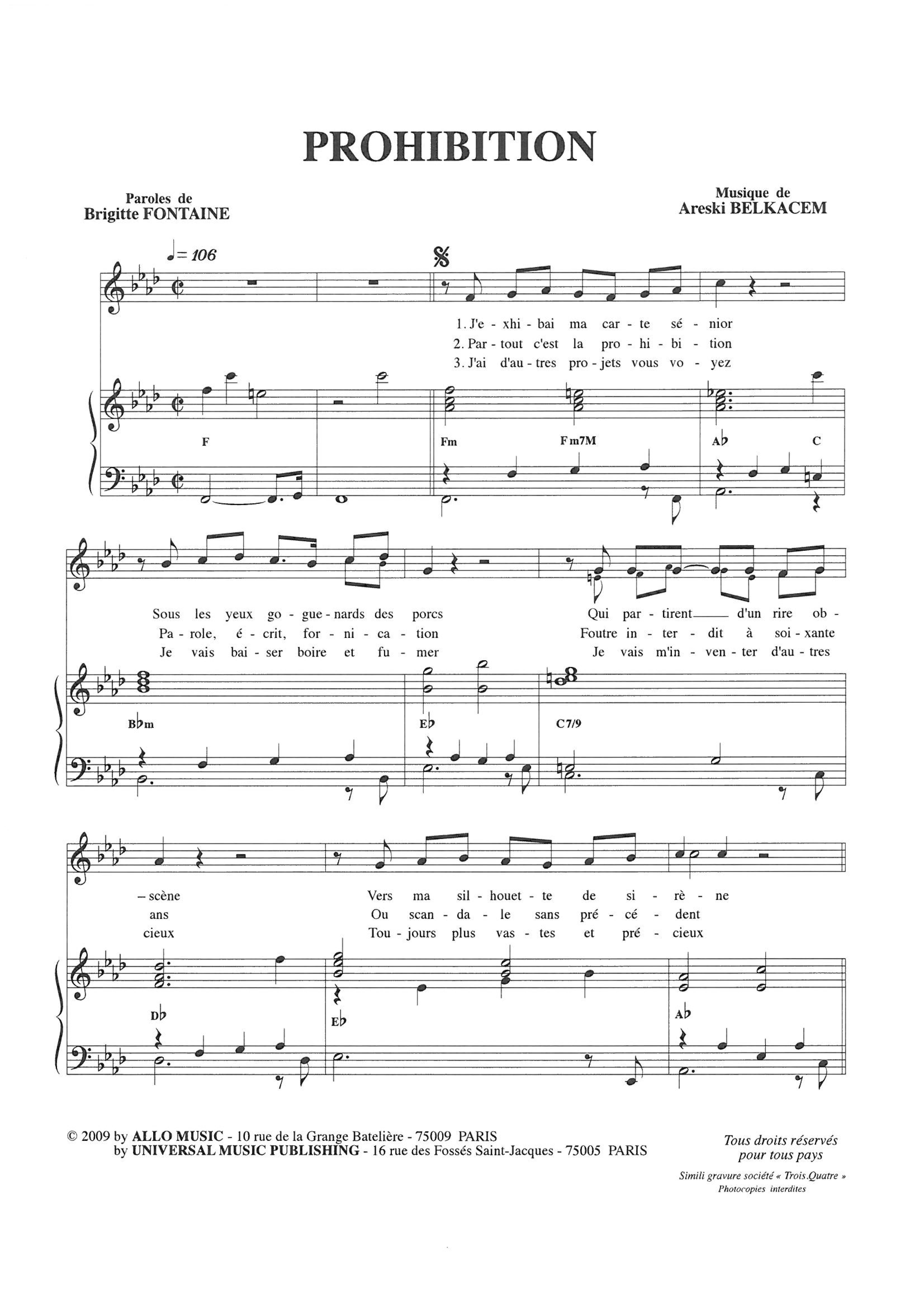 Prohibition (Piano & Vocal)