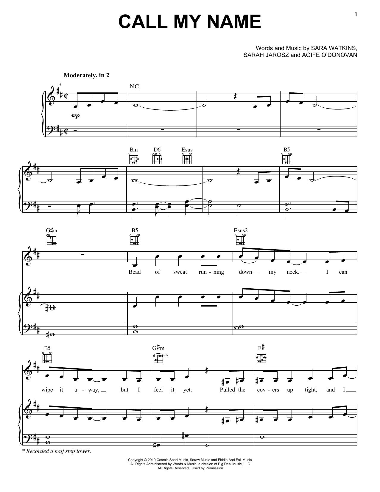 Call My Name (Piano, Vocal & Guitar (Right-Hand Melody))