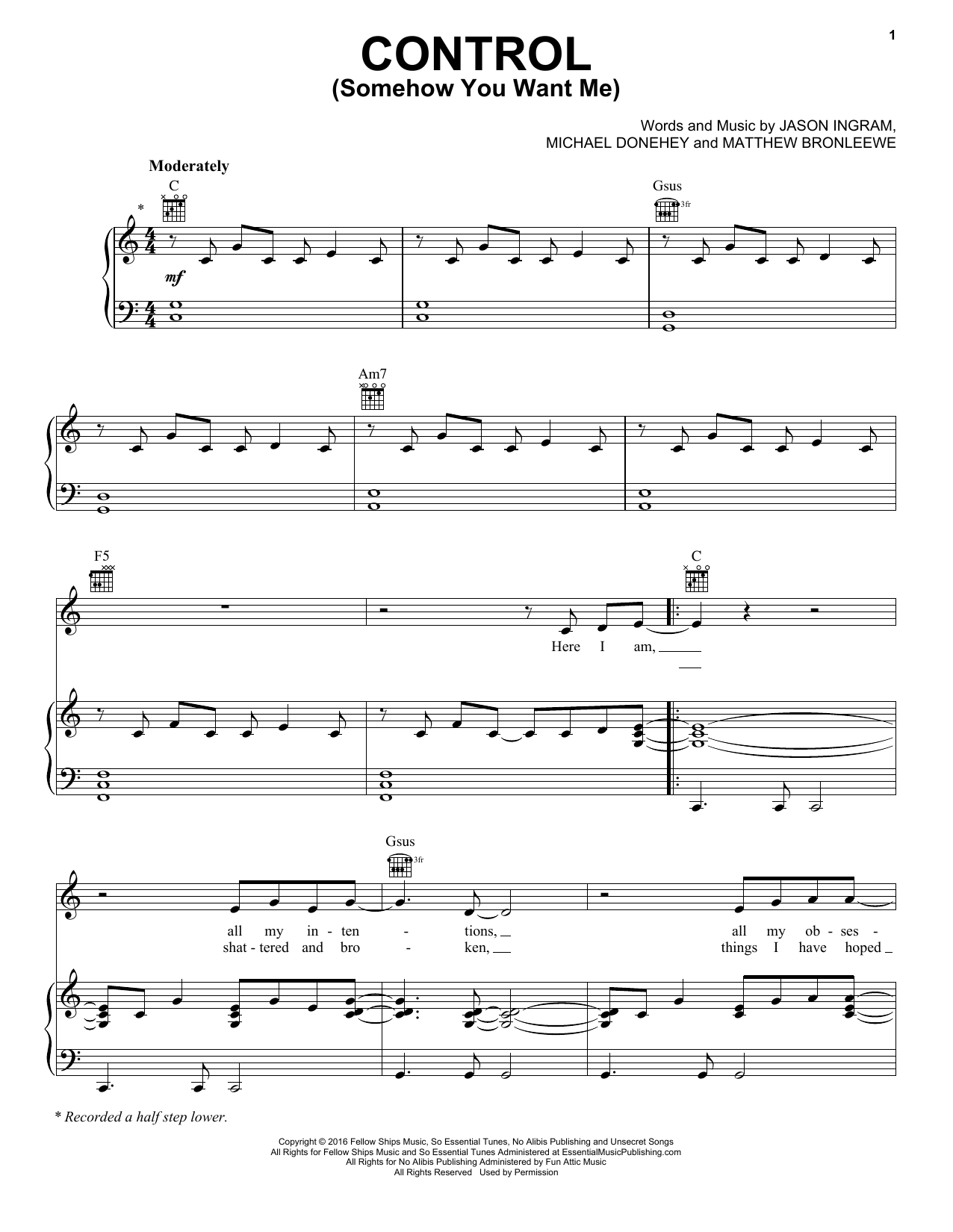 Control (Somehow You Want Me) (Piano, Vocal & Guitar (Right-Hand Melody))
