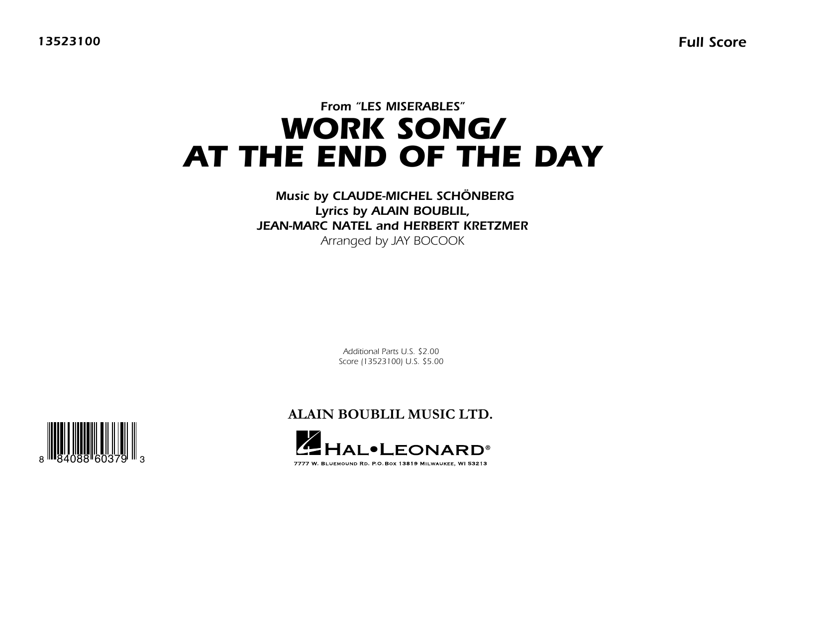Work Song/At the End of the Day (Les Misérables) (arr. Jay Bocook) - Conductor Score (Full Score) (Marching Band)