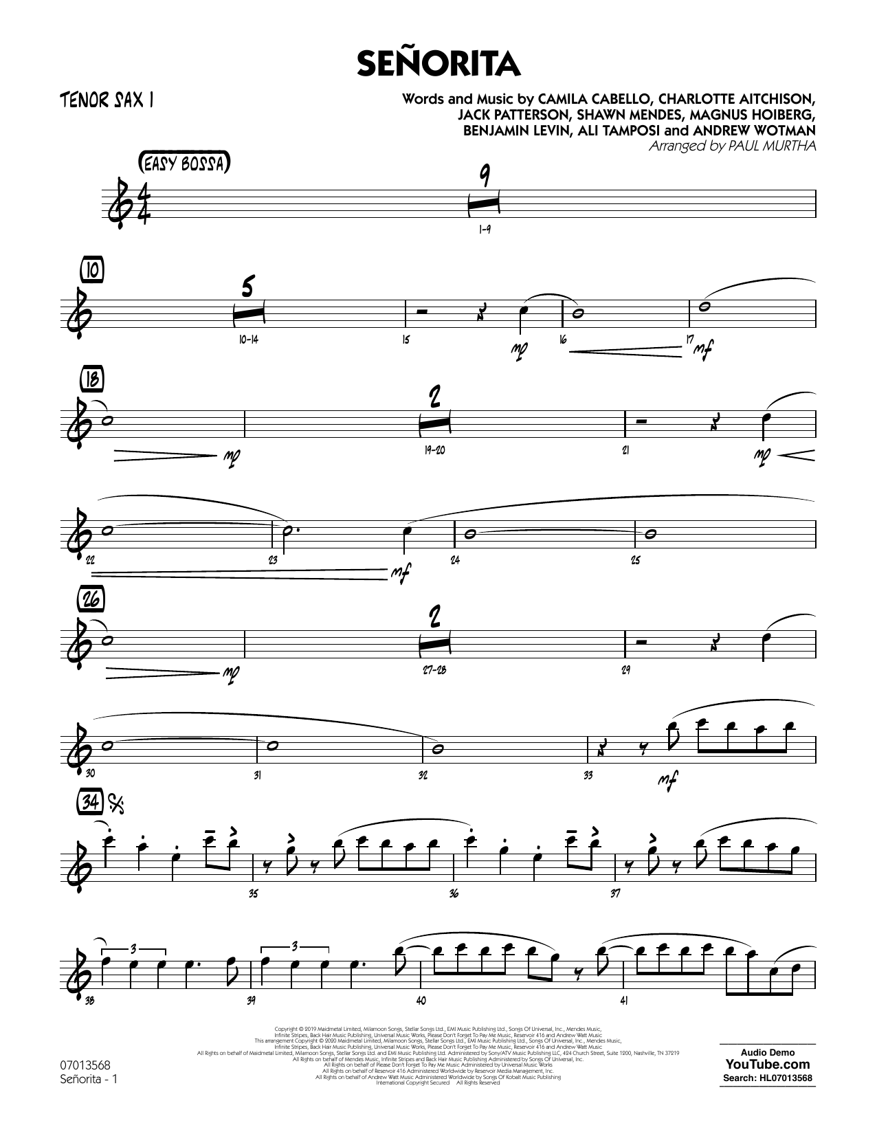Senorita (arr. Paul Murtha) - Tenor Sax 1 (Jazz Ensemble)