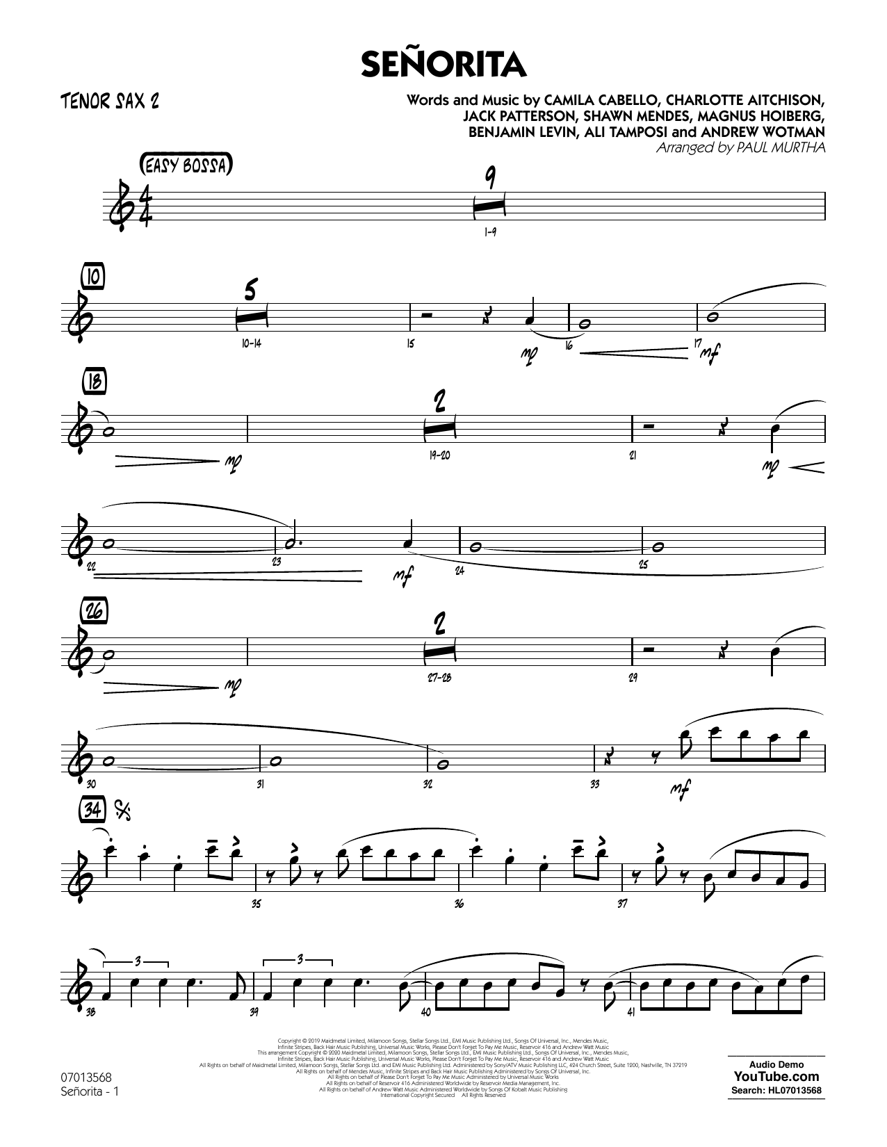 Senorita (arr. Paul Murtha) - Tenor Sax 2 (Jazz Ensemble)