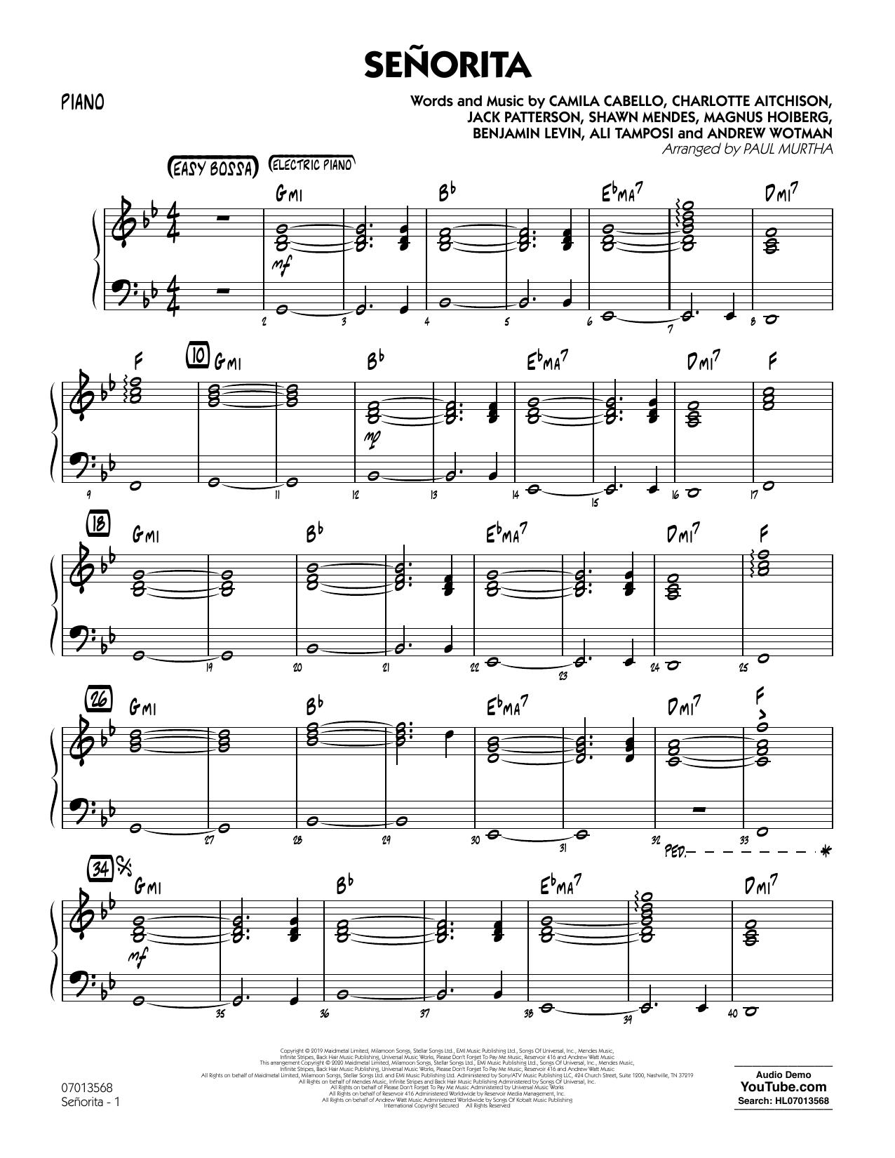 Senorita (arr. Paul Murtha) - Piano (Jazz Ensemble)
