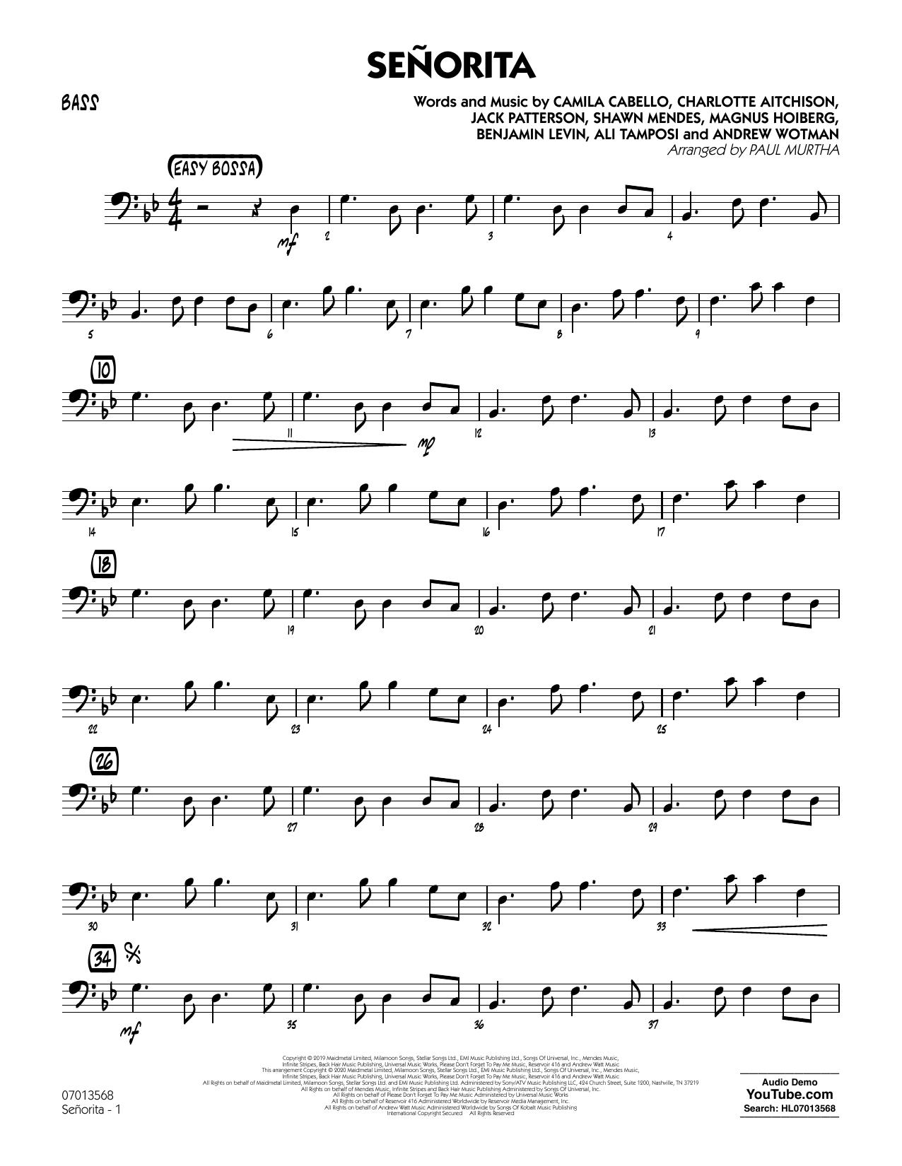 Senorita (arr. Paul Murtha) - Bass (Jazz Ensemble)