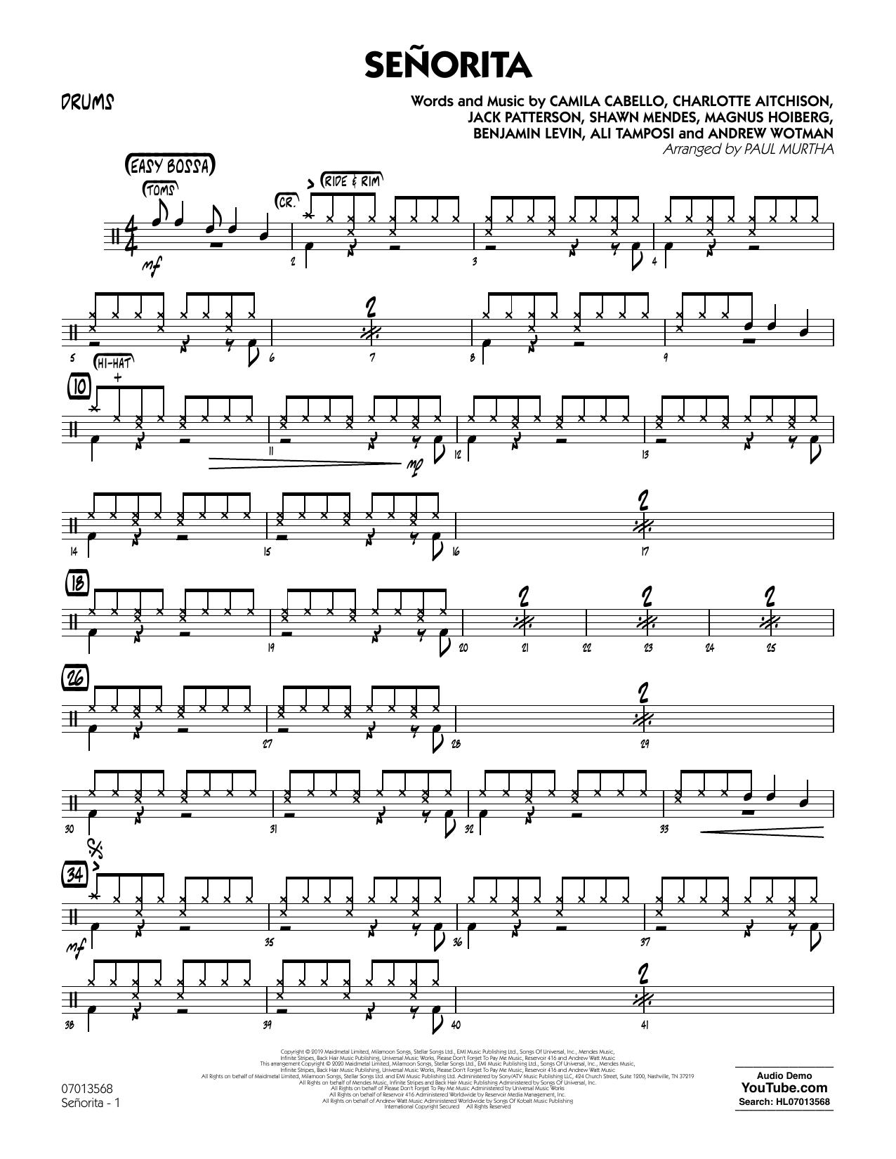 Senorita (arr. Paul Murtha) - Drums (Jazz Ensemble)