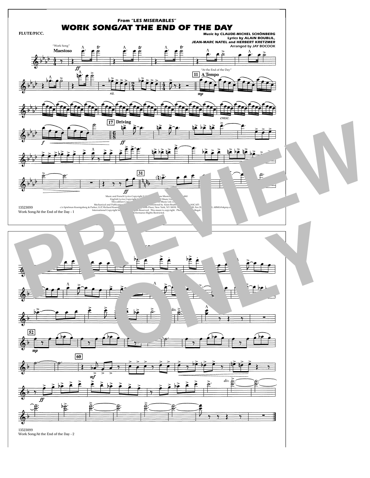 Work Song/At the End of the Day (Les Misérables) (arr. Jay Bocook) - Flute/Piccolo (Marching Band)