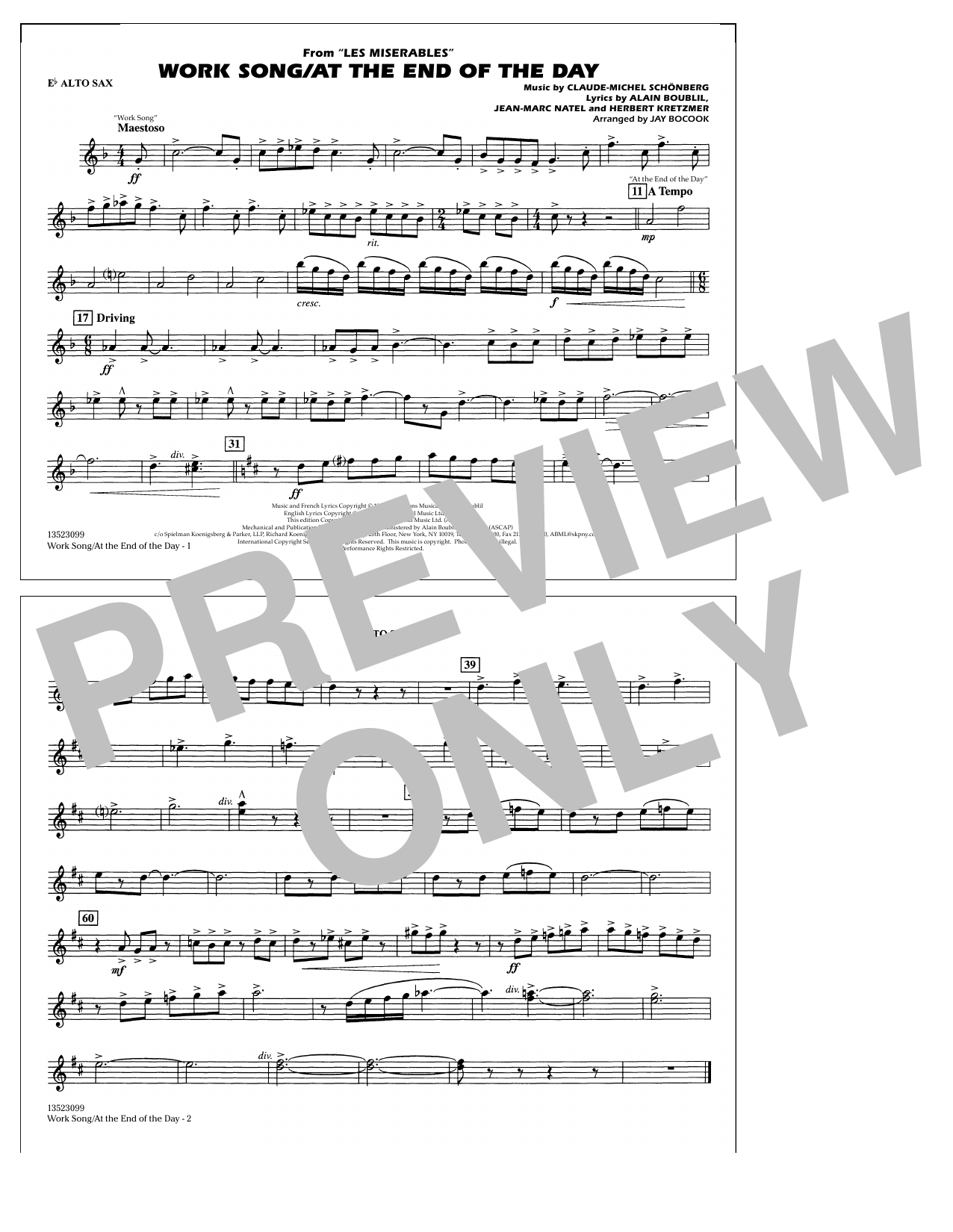 Work Song/At the End of the Day (Les Misérables) (arr. Jay Bocook) - Eb Alto Sax (Marching Band)