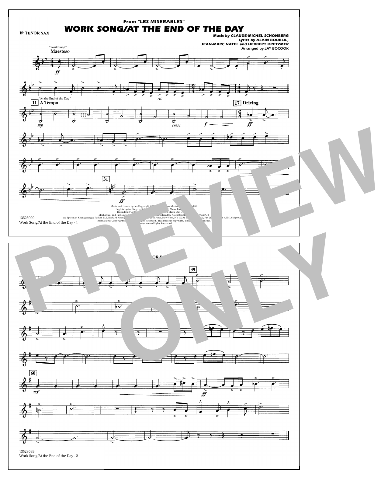 Work Song/At the End of the Day (Les Misérables) (arr. Jay Bocook) - Bb Tenor Sax (Marching Band)