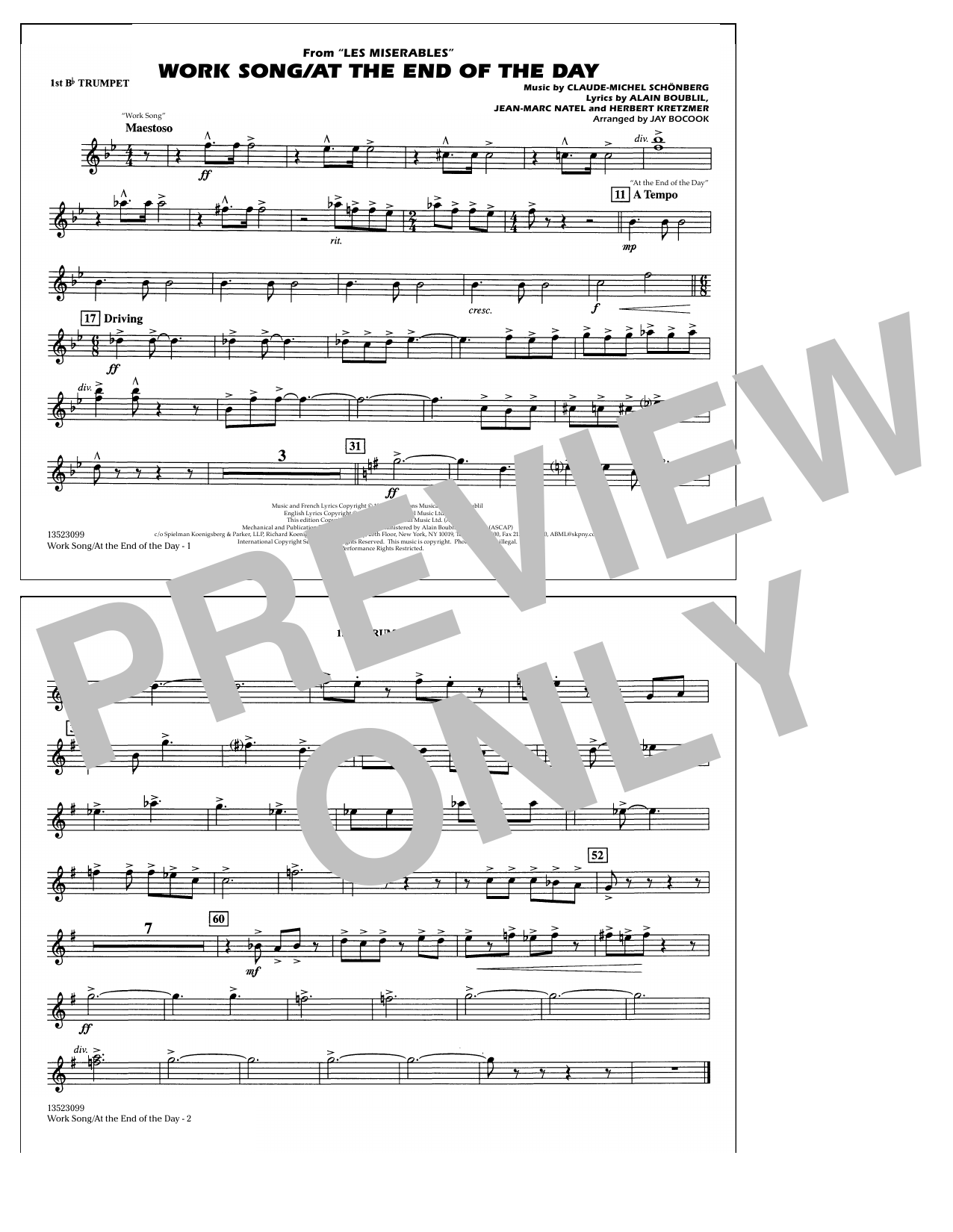 Work Song/At the End of the Day (Les Misérables) (arr. Jay Bocook) - 1st Bb Trumpet (Marching Band)