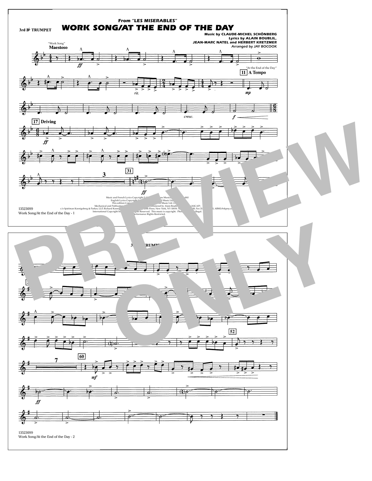 Work Song/At the End of the Day (Les Misérables) (arr. Jay Bocook) - 3rd Bb Trumpet (Marching Band)