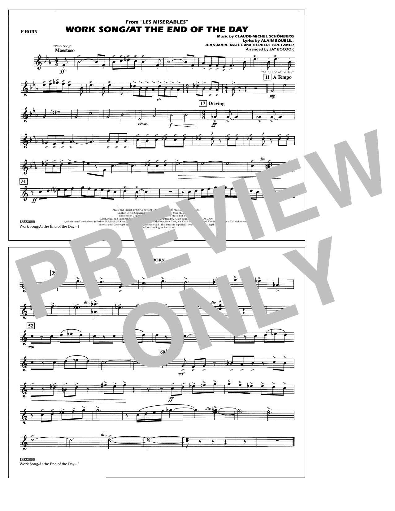 Work Song/At the End of the Day (Les Misérables) (arr. Jay Bocook) - F Horn (Marching Band)