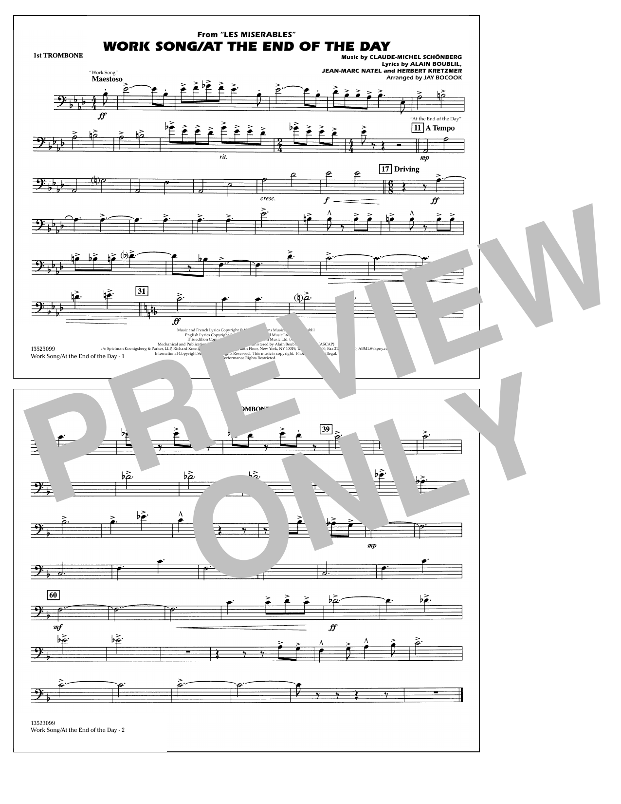 Work Song/At the End of the Day (Les Misérables) (arr. Jay Bocook) - 1st Trombone (Marching Band)