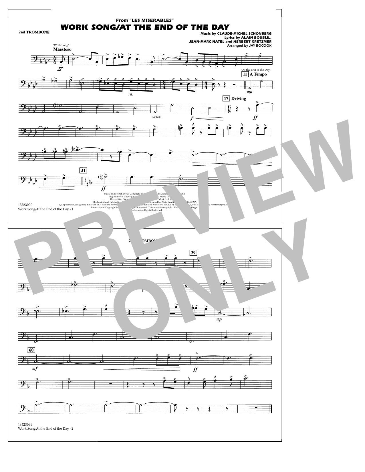 Work Song/At the End of the Day (Les Misérables) (arr. Jay Bocook) - 2nd Trombone (Marching Band)