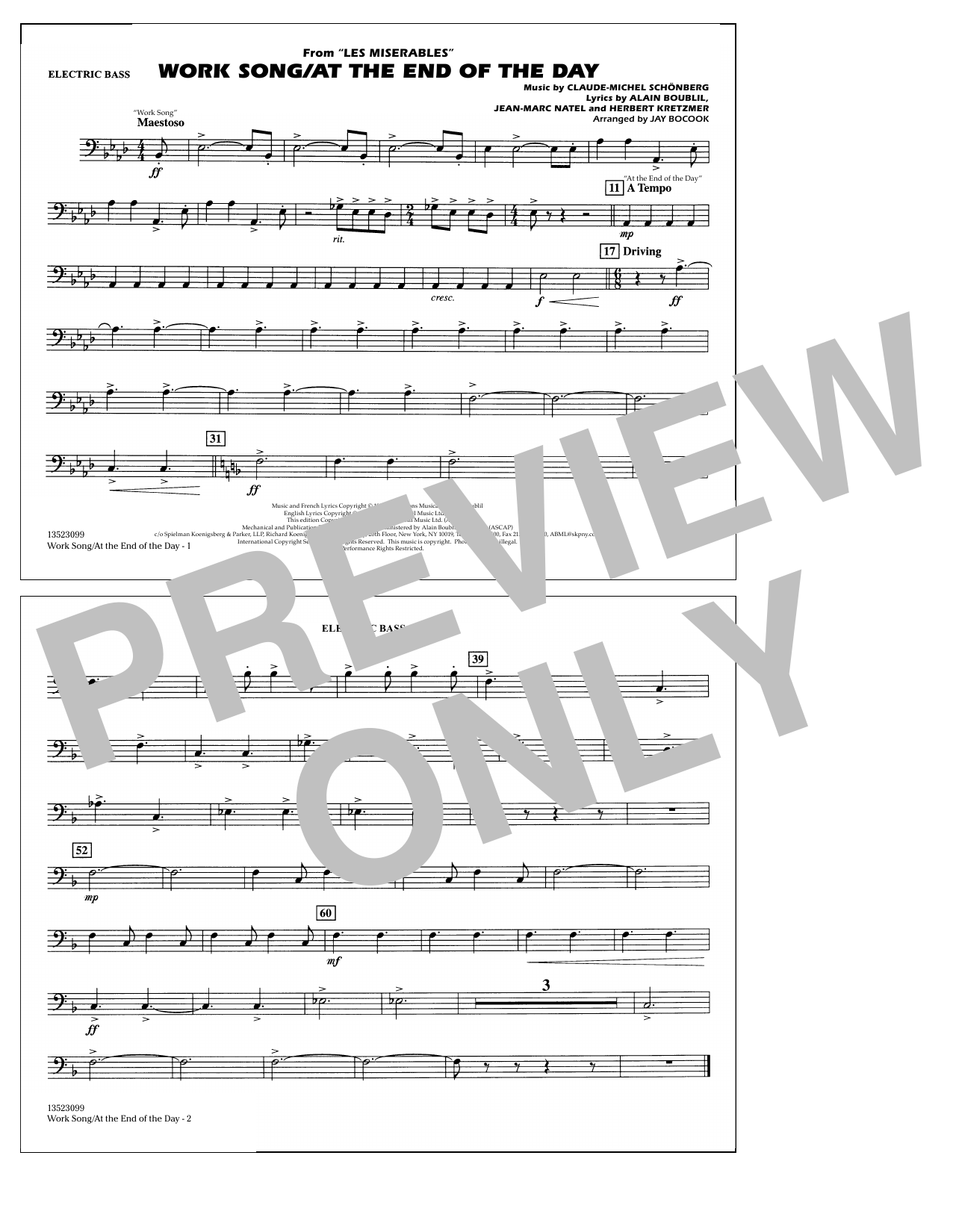 Work Song/At the End of the Day (Les Misérables) (arr. Jay Bocook) - Electric Bass (Marching Band)