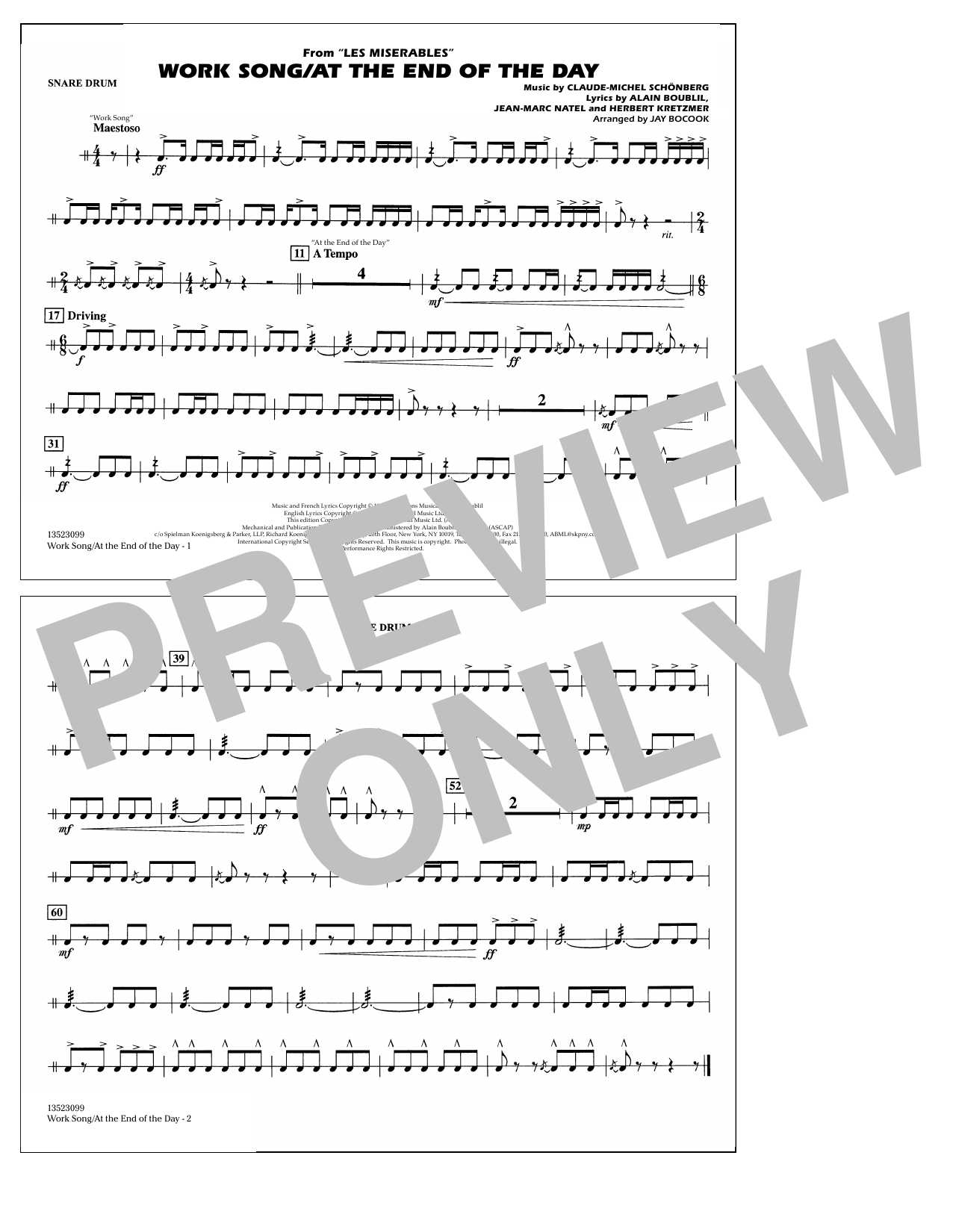 Work Song/At the End of the Day (Les Misérables) (arr. Jay Bocook) - Snare Drum (Marching Band)