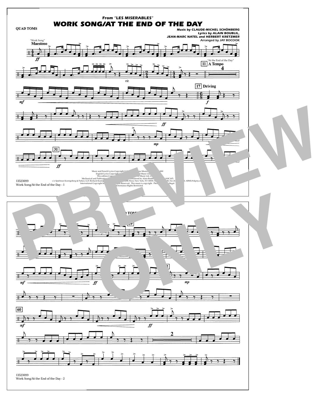 Work Song/At the End of the Day (Les Misérables) (arr. Jay Bocook) - Quad Toms (Marching Band)