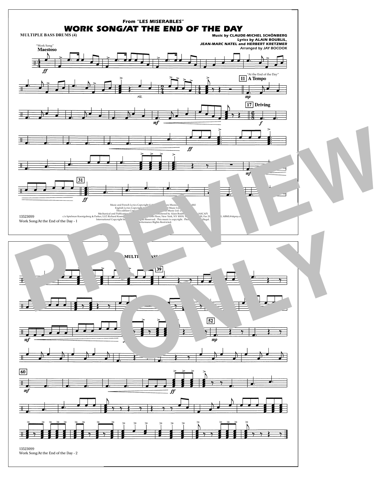 Work Song/At the End of the Day (Les Misérables) (arr. Jay Bocook) - Multiple Bass Drums (Marching Band)