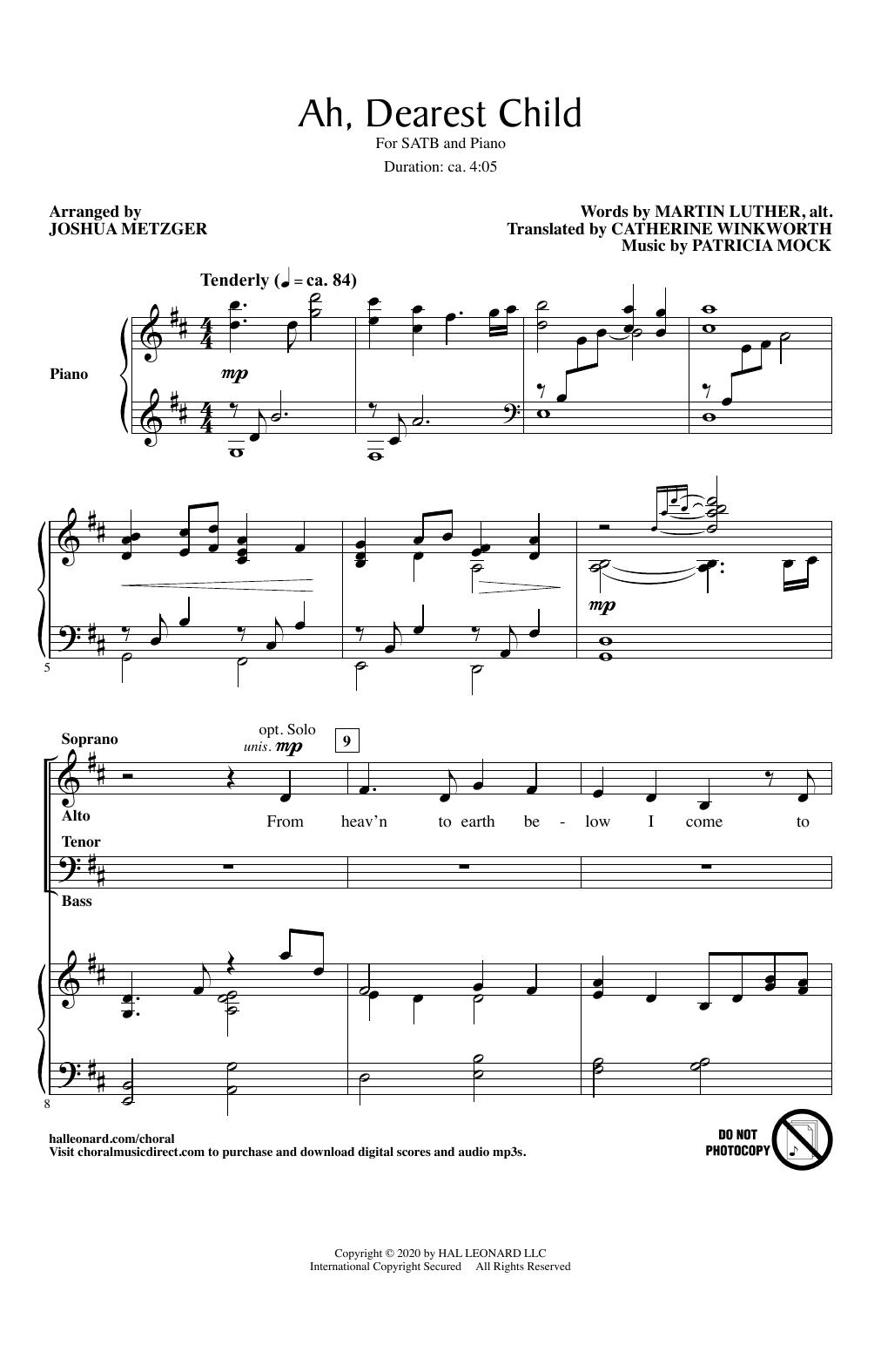 Ah, Dearest Child (arr. Joshua Metzger) (SATB Choir)