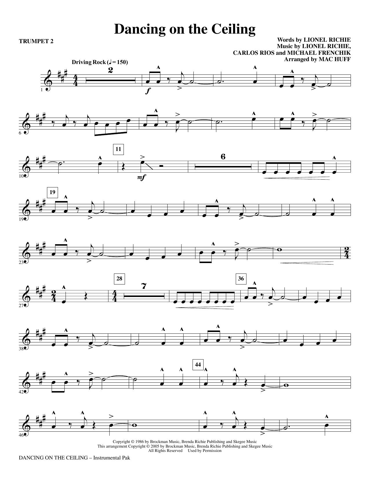 Dancing On The Ceiling (arr. Mac Huff) - Trumpet 2 (Choir Instrumental Pak)