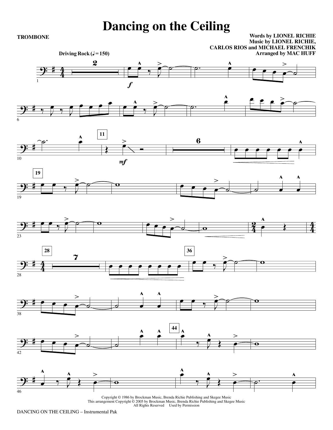 Dancing On The Ceiling (arr. Mac Huff) - Trombone (Choir Instrumental Pak)