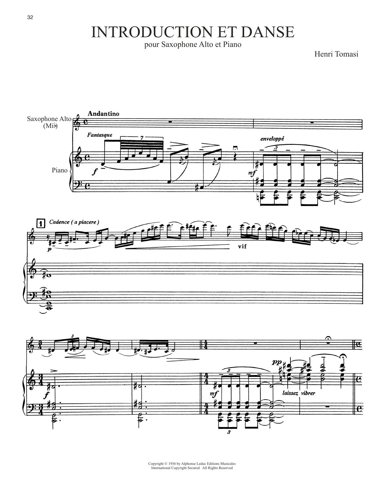 Introduction Et Danse (Alto Sax and Piano)