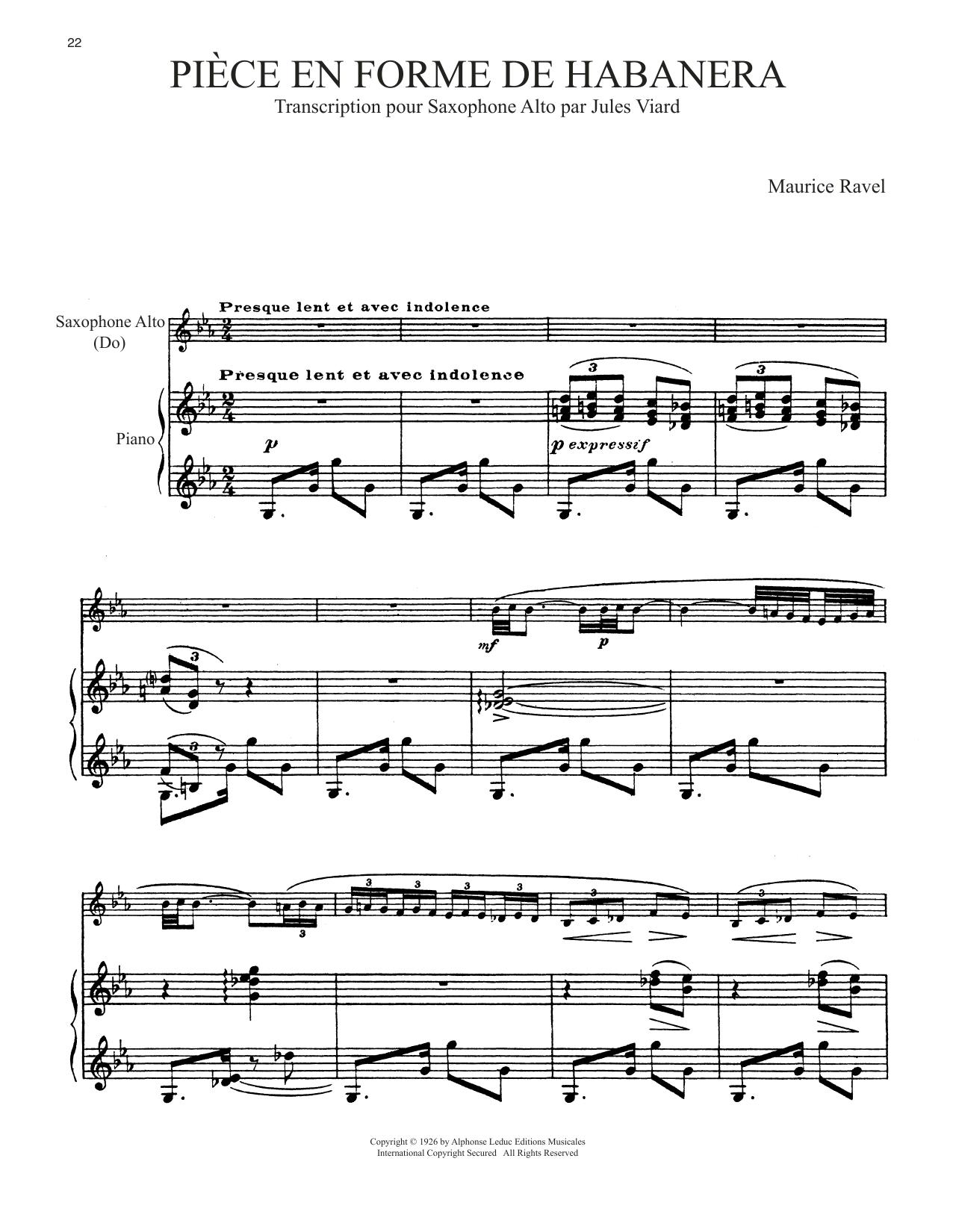 Piece En Forme De Habanera (Alto Sax and Piano)
